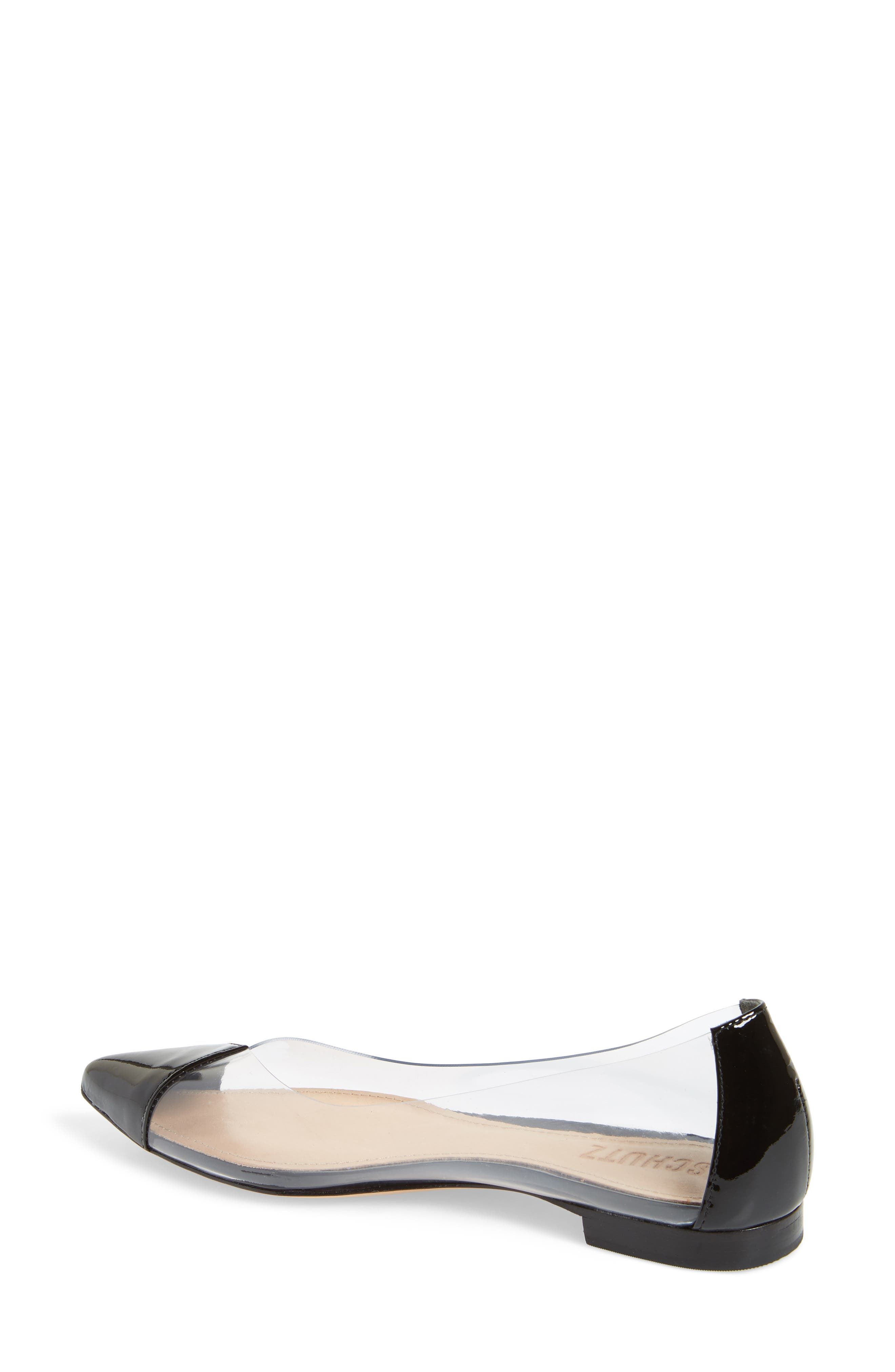 Clearly Pointy Toe Flat,                             Alternate thumbnail 2, color,                             BLACK PATENT