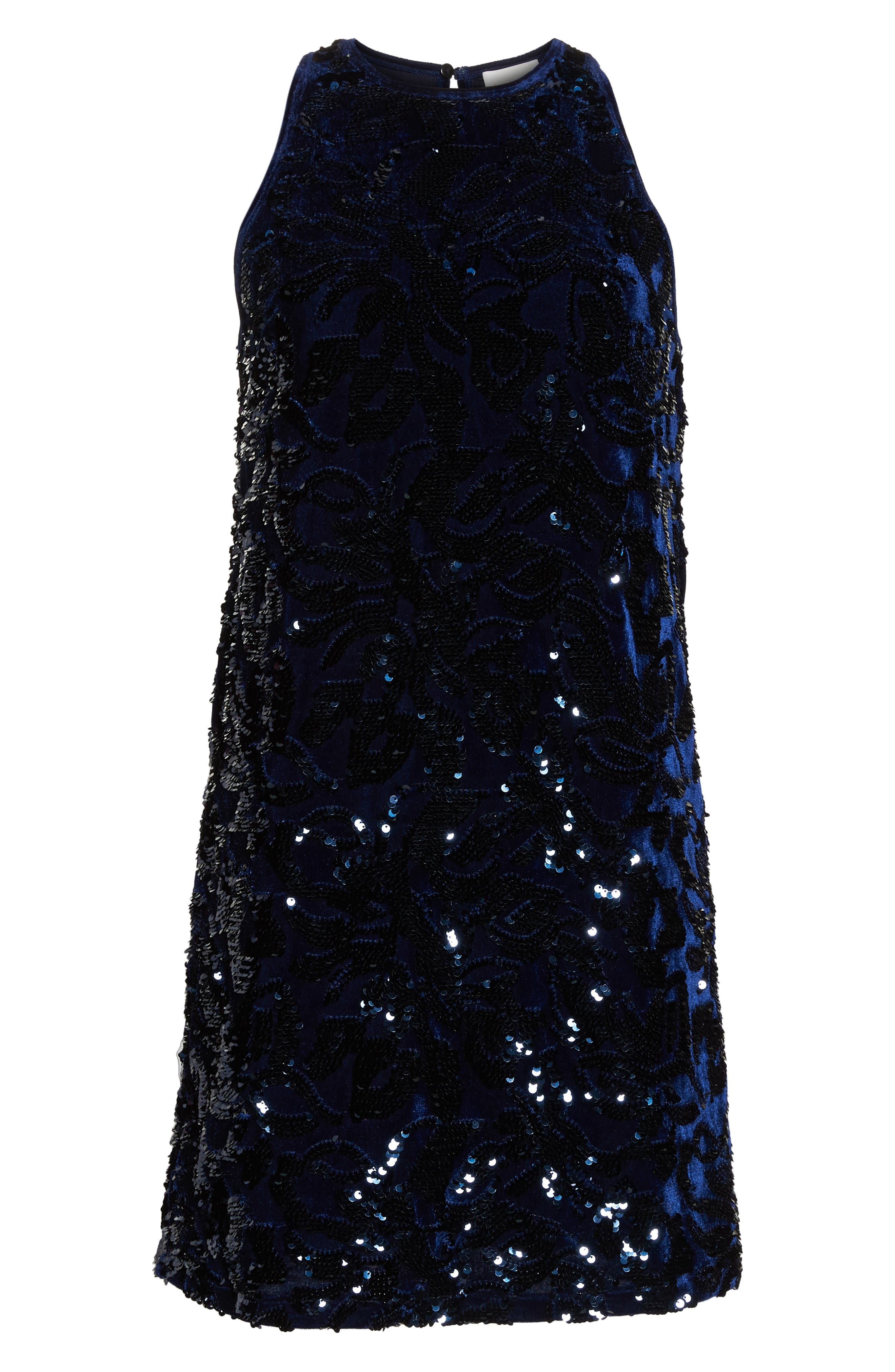 Teddy Sequin Embellished Dress,                             Alternate thumbnail 7, color,                             NAVY MULTI