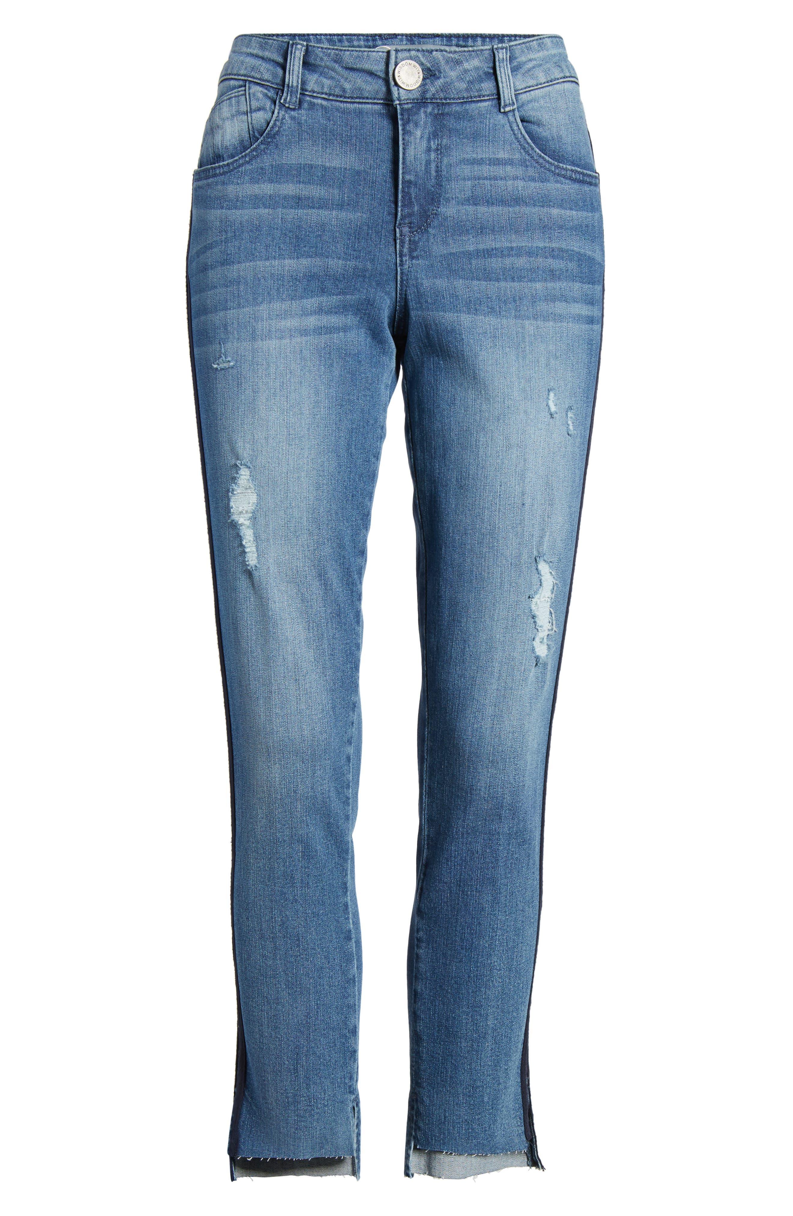 Side Stripe Ankle Jeans,                             Alternate thumbnail 6, color,