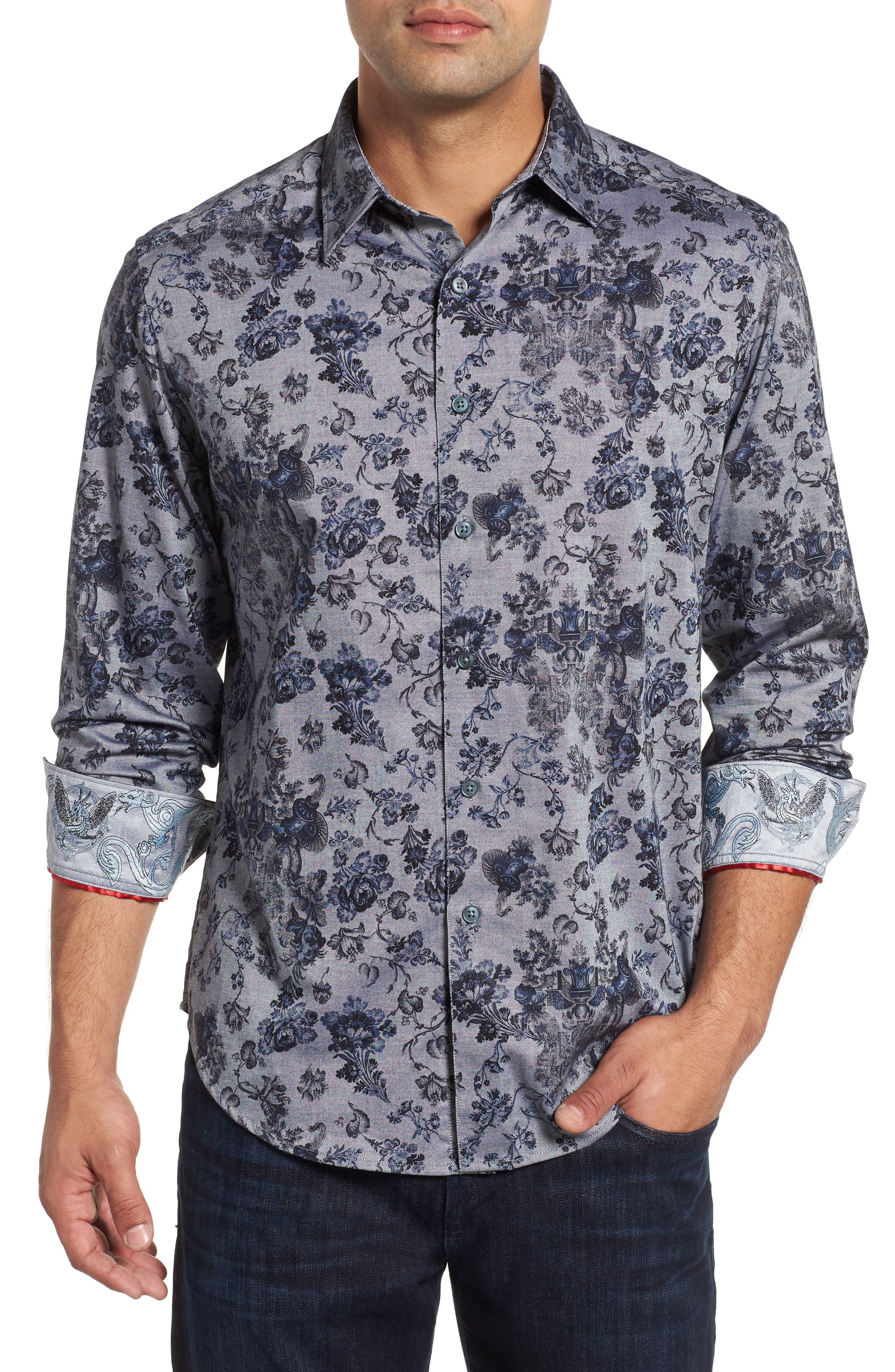 Barker Classic Fit Floral Sport Shirt,                             Main thumbnail 1, color,                             BLUE