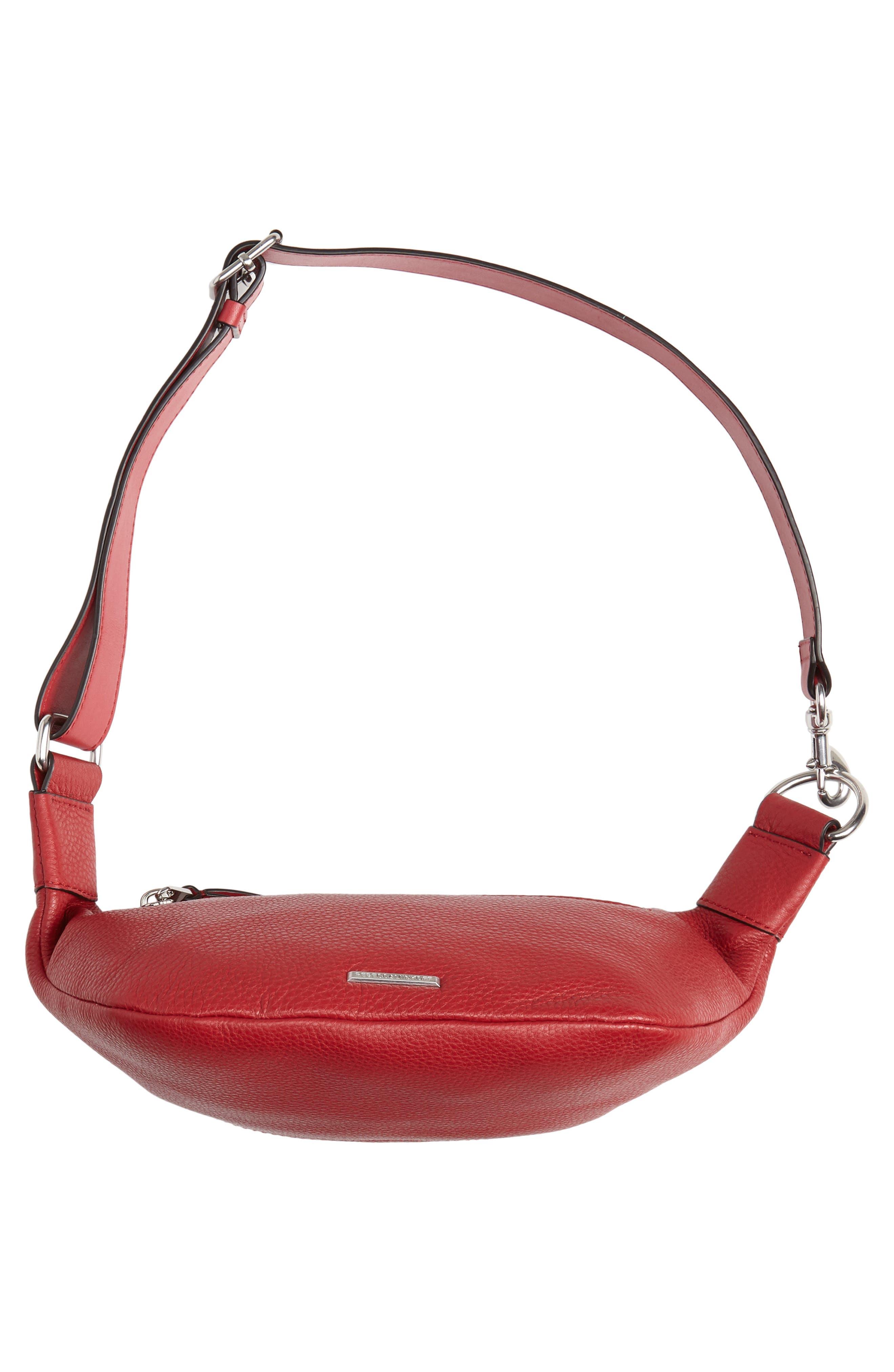 Bree Leather Belt Bag,                             Alternate thumbnail 7, color,                             SCARLET