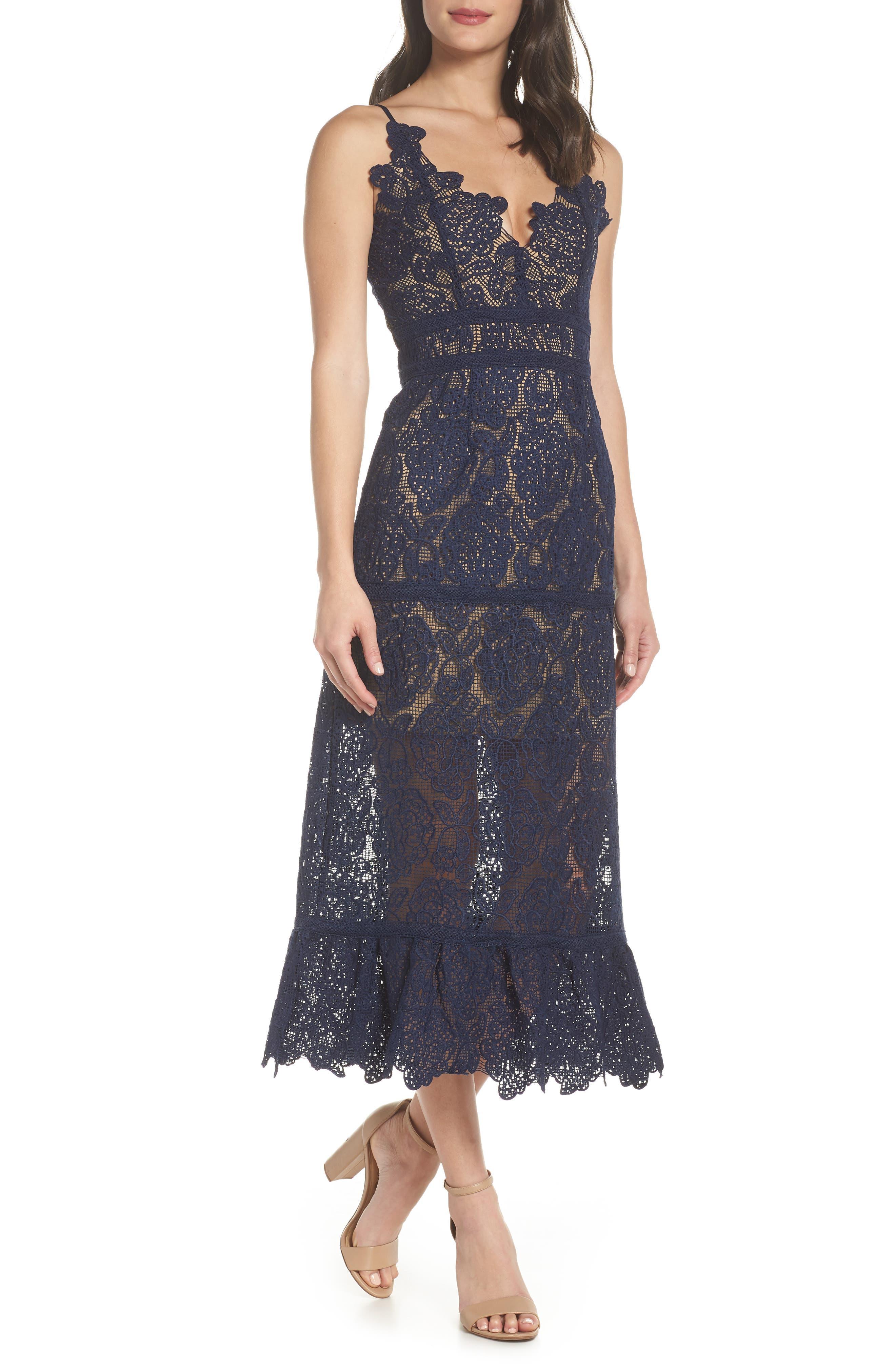 Majorie Lace Dress,                         Main,                         color, NAVY