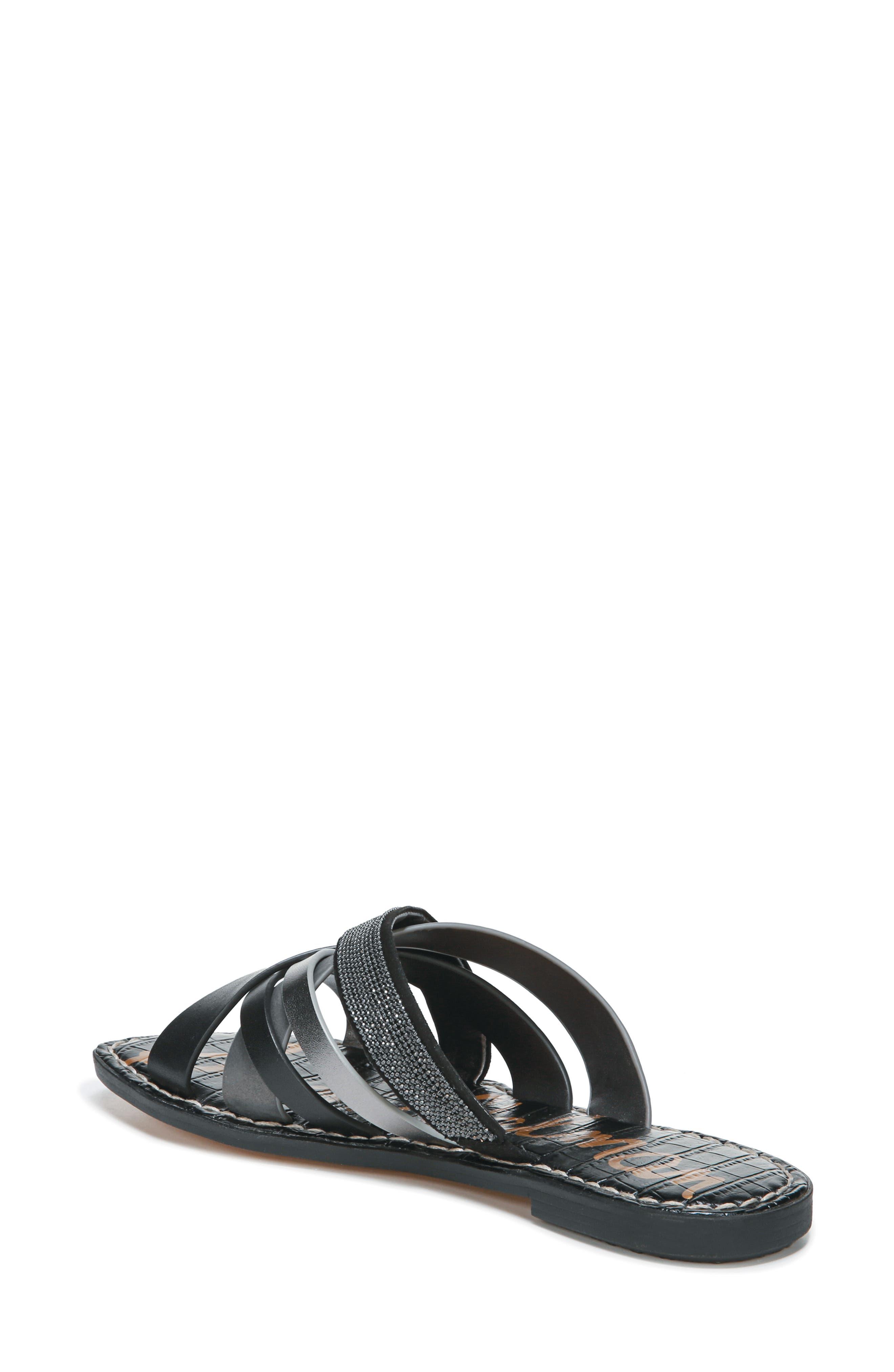 Glennia Slide Sandal,                             Alternate thumbnail 2, color,                             DARK PEWTER/ BLACK LEATHER