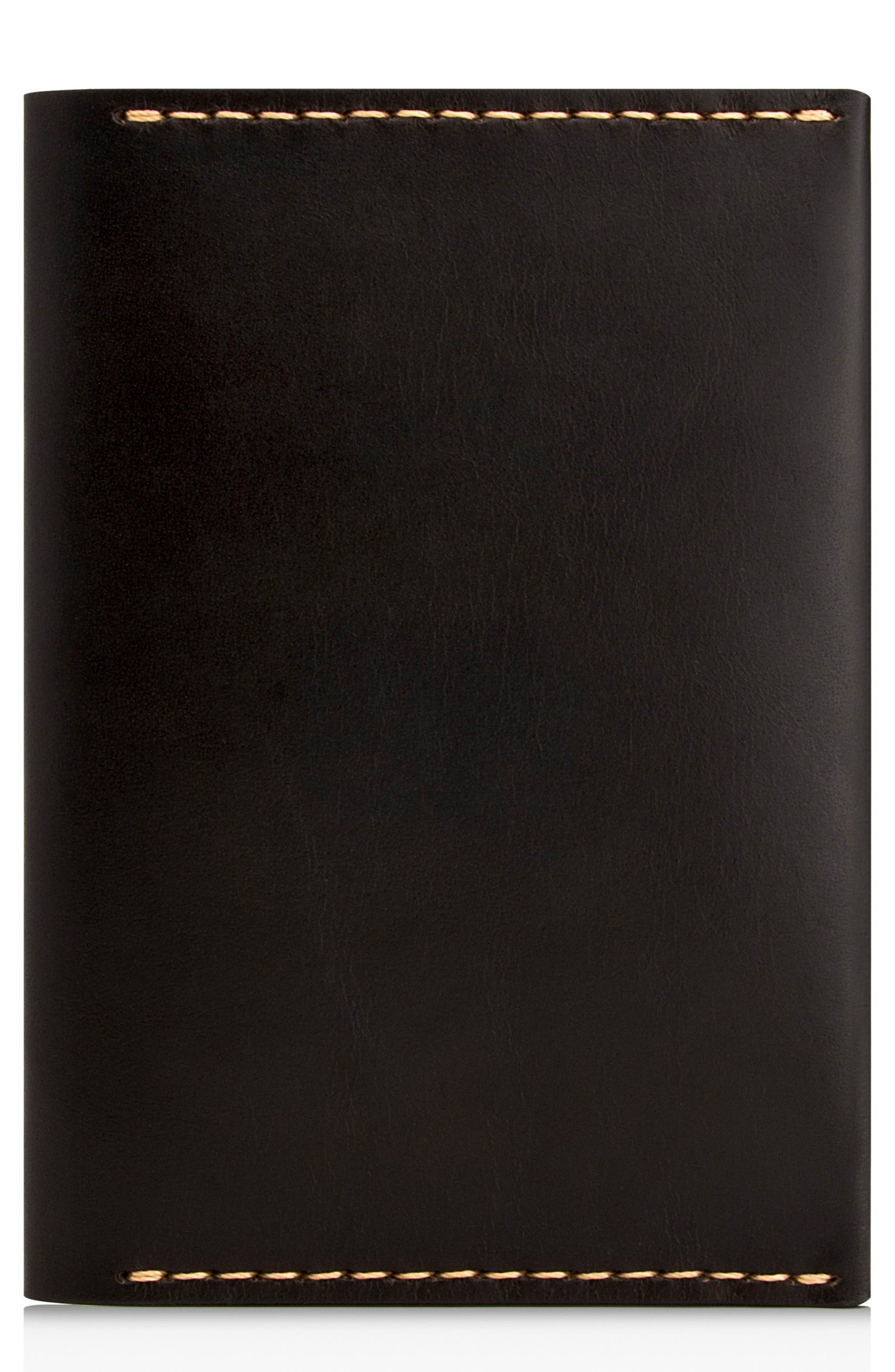 Leather Passport Wallet,                             Main thumbnail 1, color,                             JET TOP STITCH