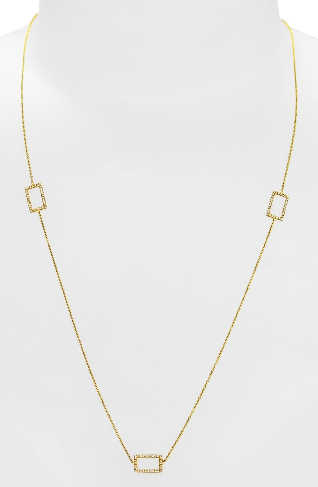 Three Rectangle Diamond Station Necklace,                             Alternate thumbnail 4, color,                             YELLOW GOLD