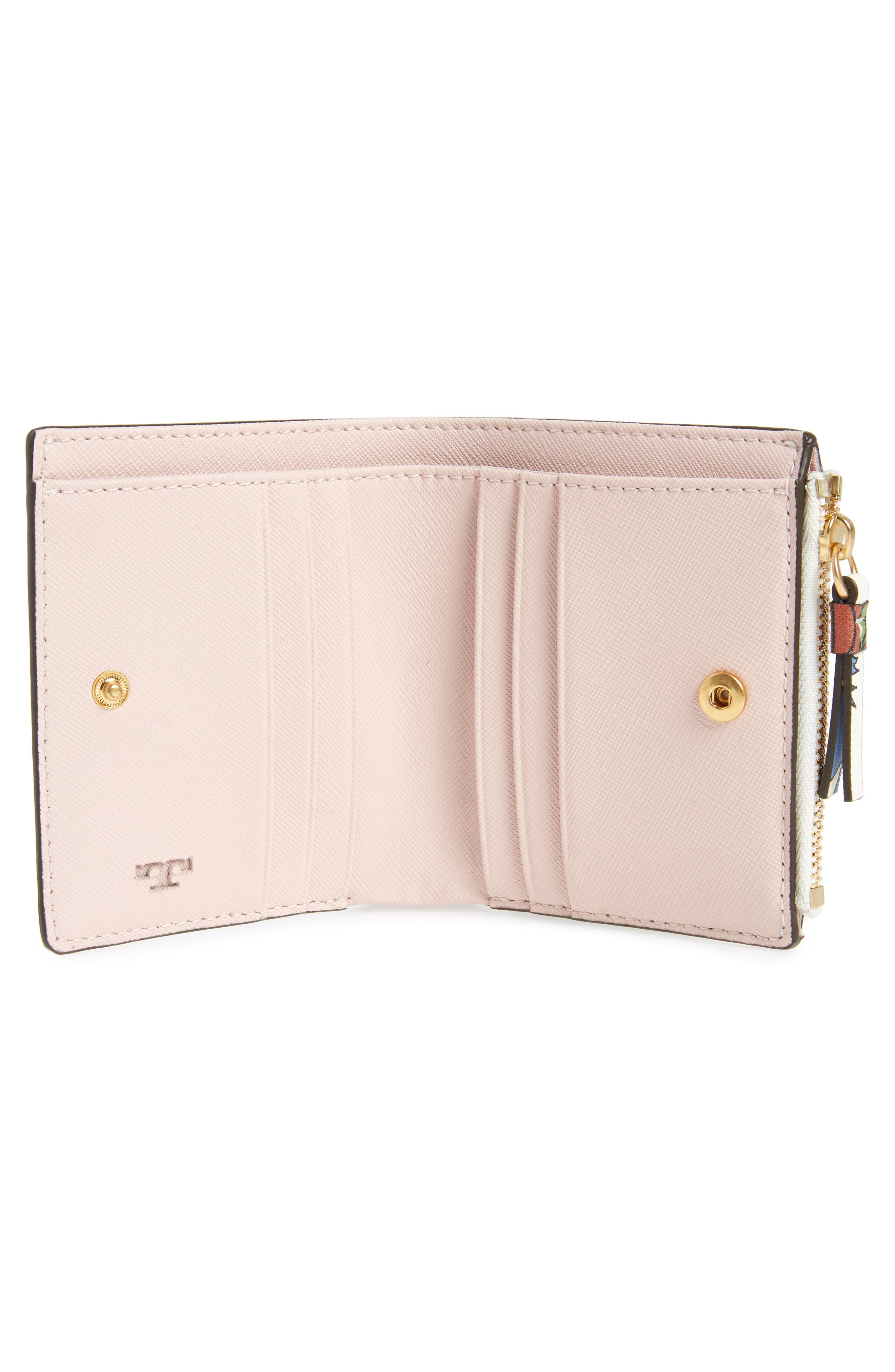 Mini Robinson Floral Leather Wallet,                             Alternate thumbnail 2, color,                             IVORY MEADOW SWEET