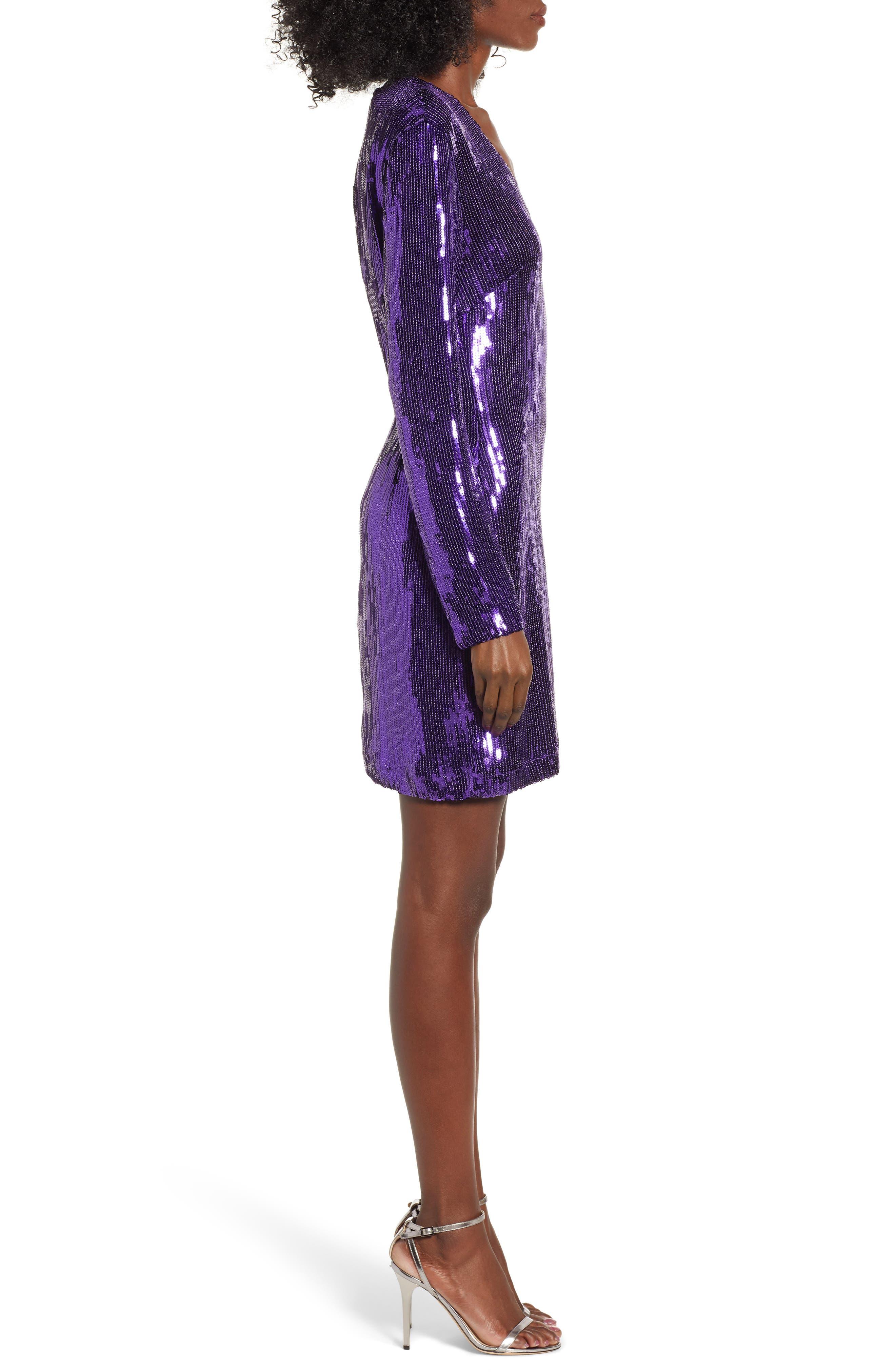 Sequin Minidress,                             Alternate thumbnail 3, color,                             PURPLE