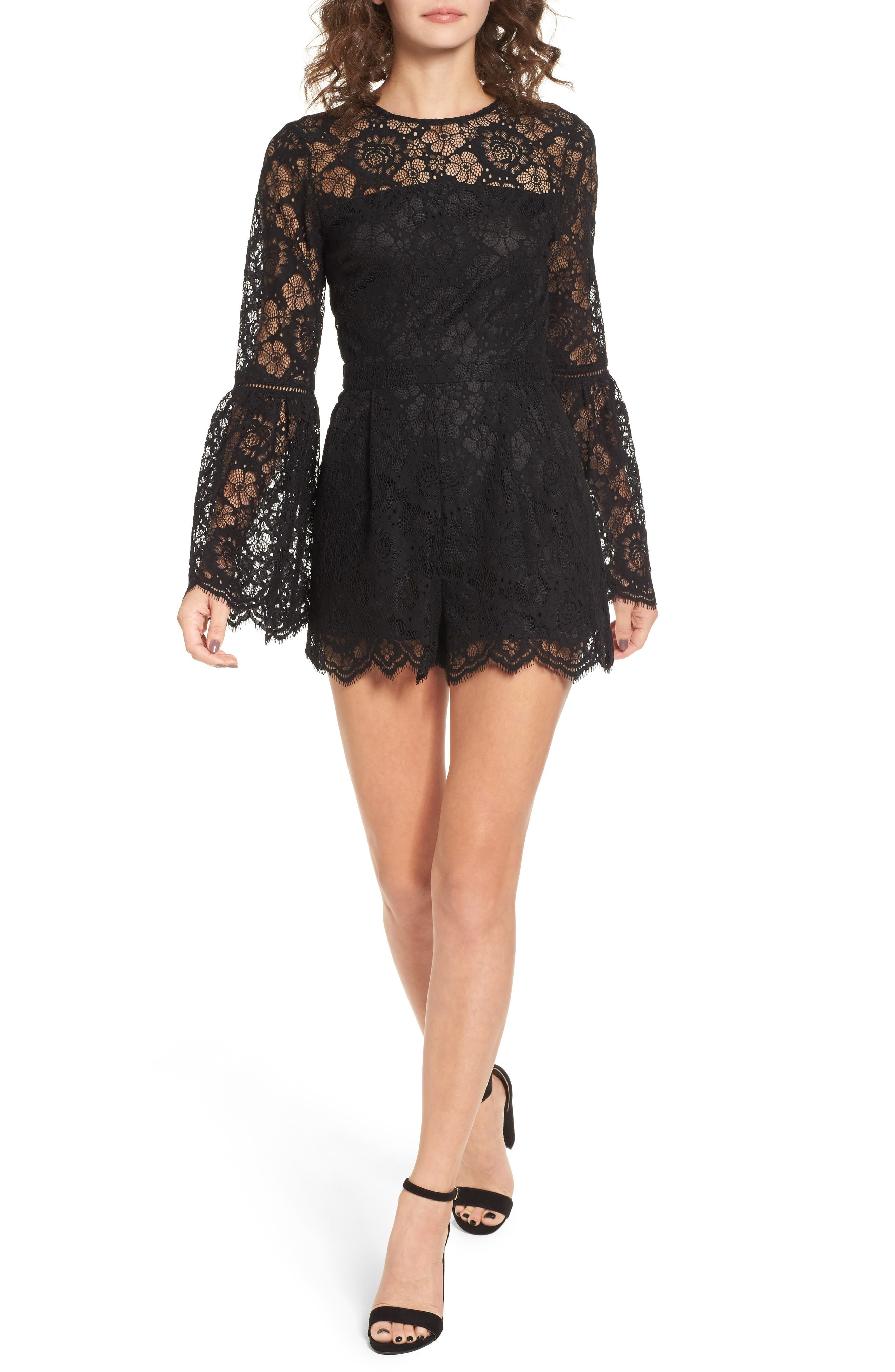 Gabrielle Lace Romper,                         Main,                         color,