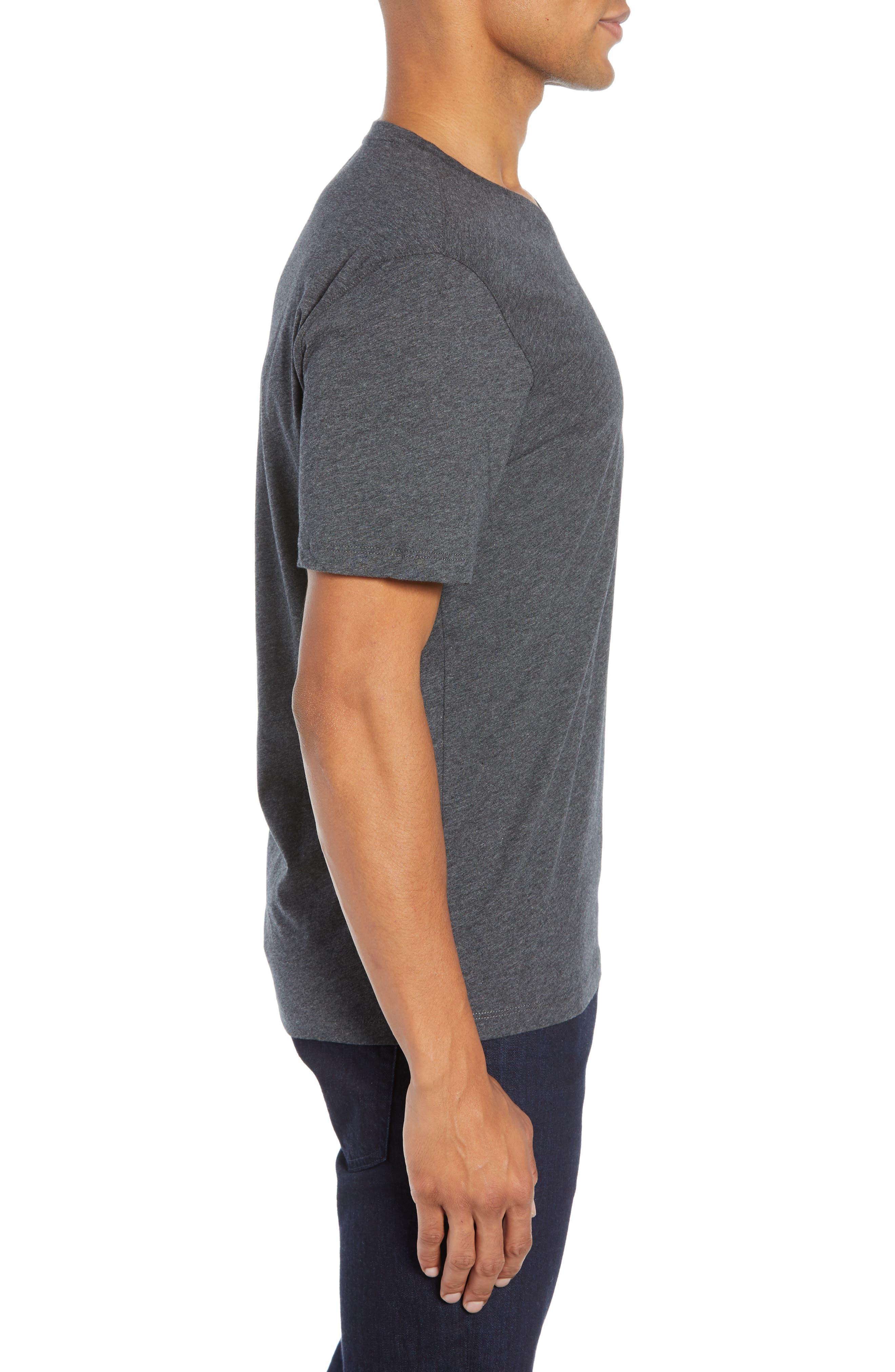 Mercer V-Neck T-Shirt,                             Alternate thumbnail 3, color,                             DARK HEATHER CHARCOAL