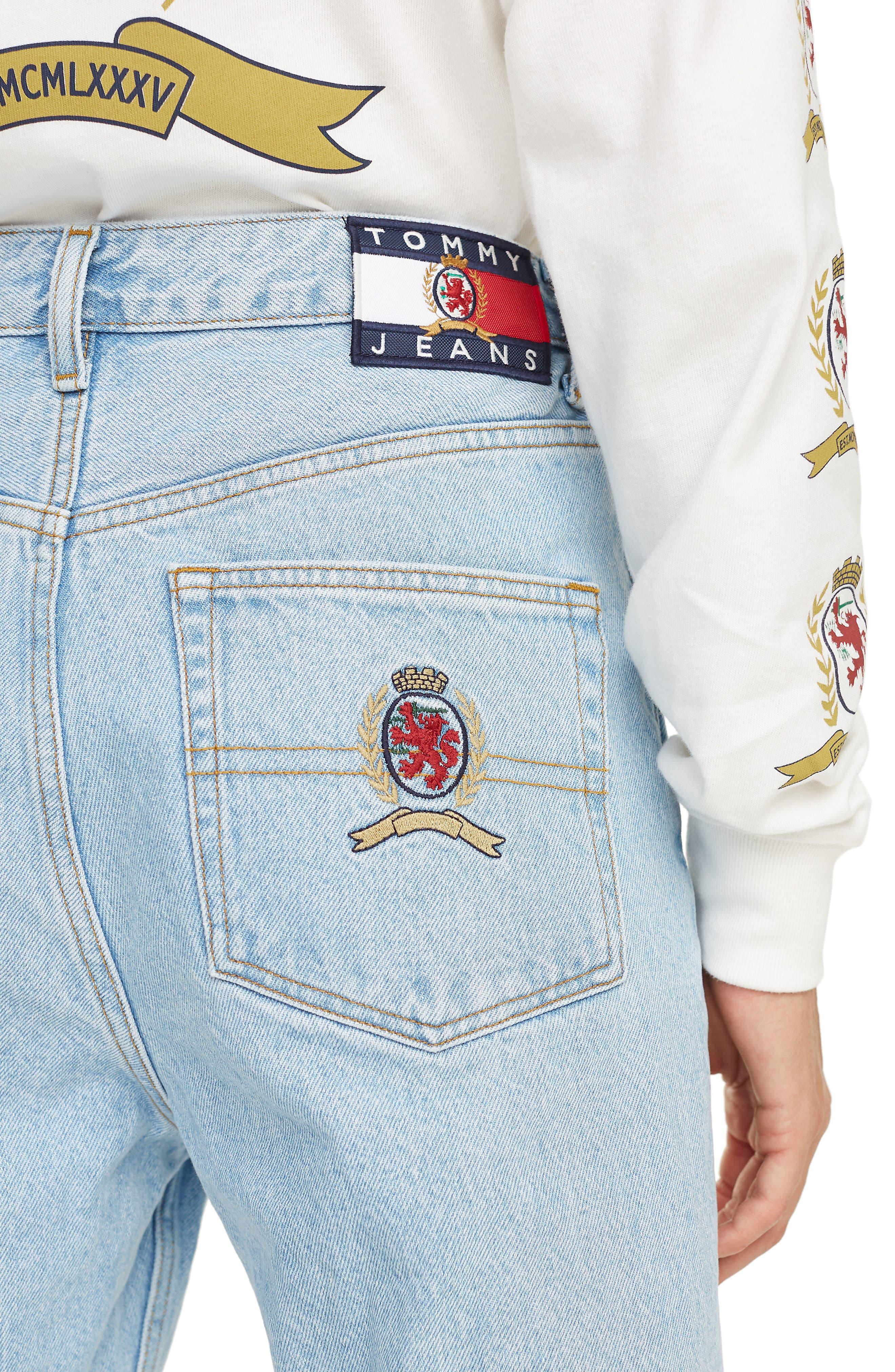 Crest Capsule Mom Jeans,                             Alternate thumbnail 3, color,                             LIGHT BLUE DENIM