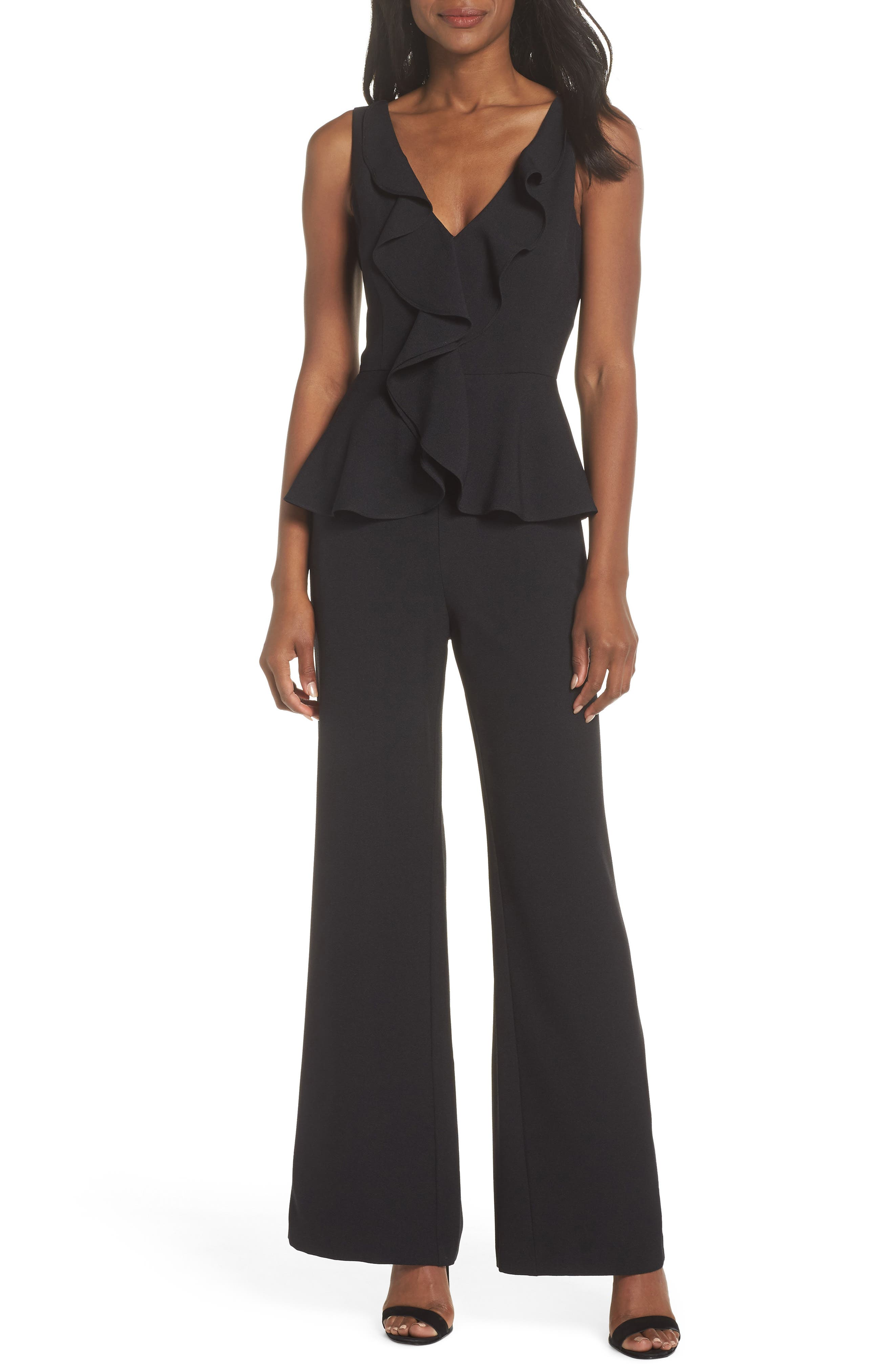 Sleeveless Peplum Jumpsuit,                             Main thumbnail 1, color,                             001