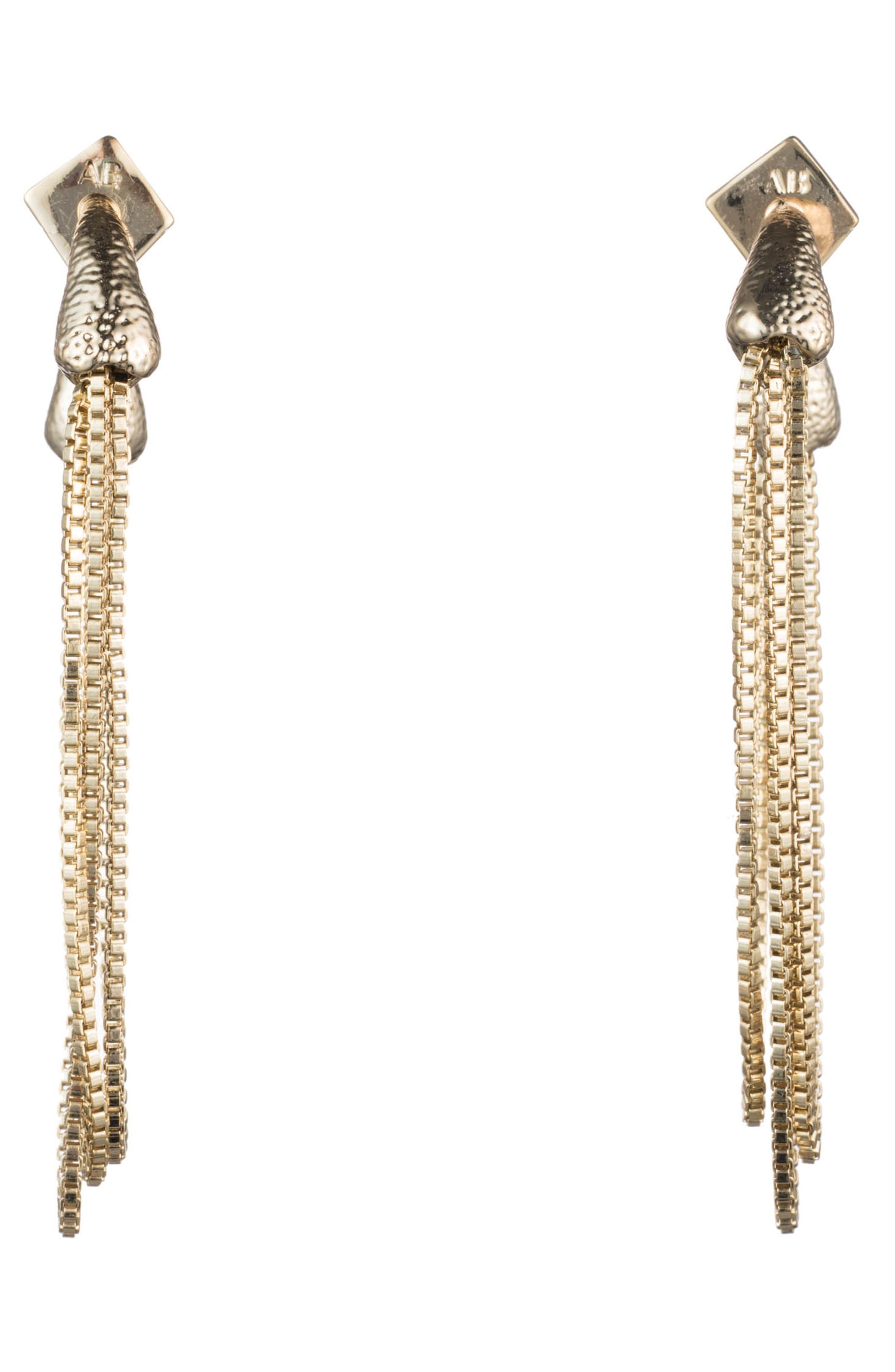 Snake Chain Earrings,                             Alternate thumbnail 2, color,                             10K GOLD