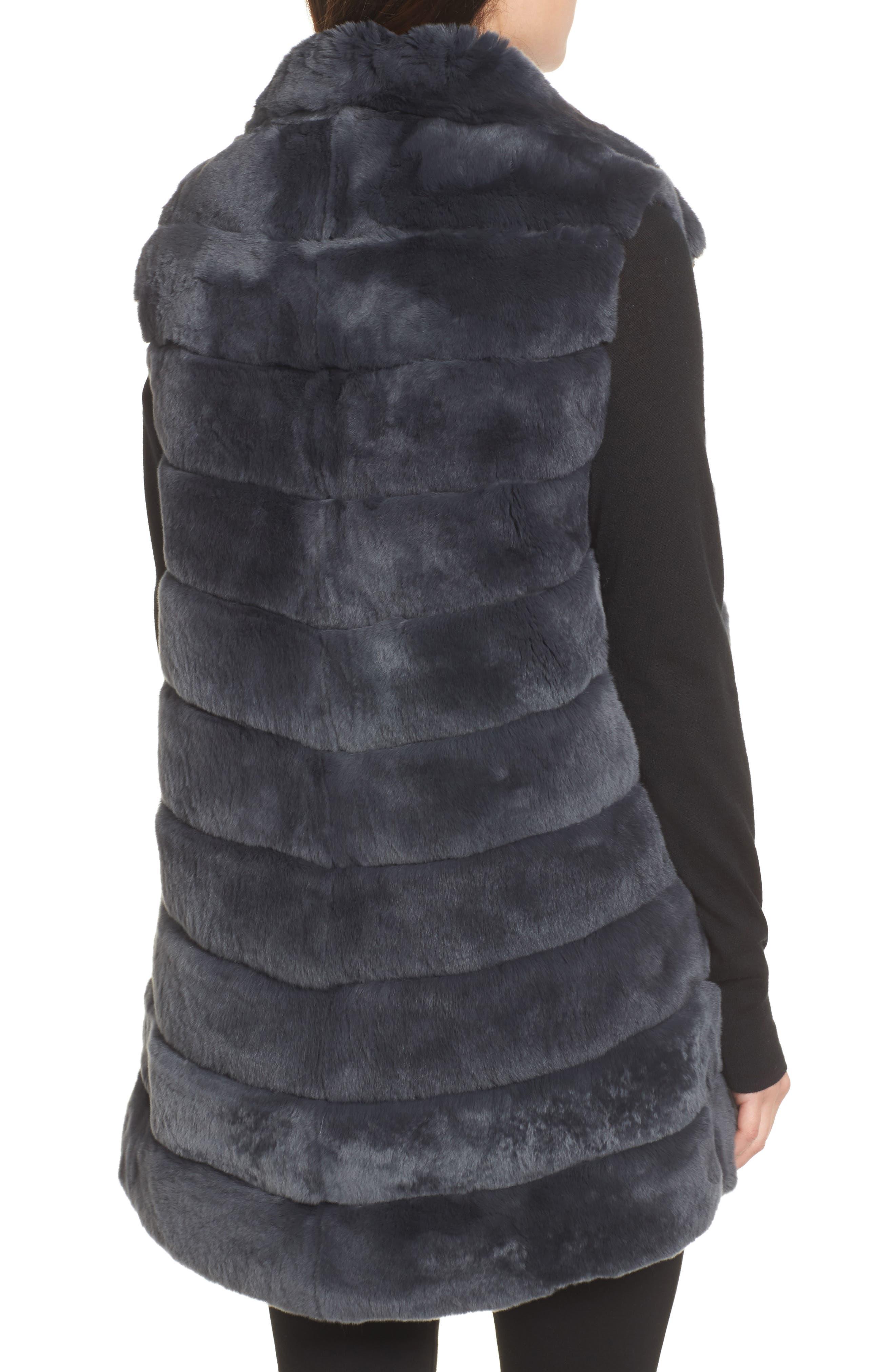 Reversible Genuine Rabbit Fur Vest,                             Alternate thumbnail 2, color,                             410