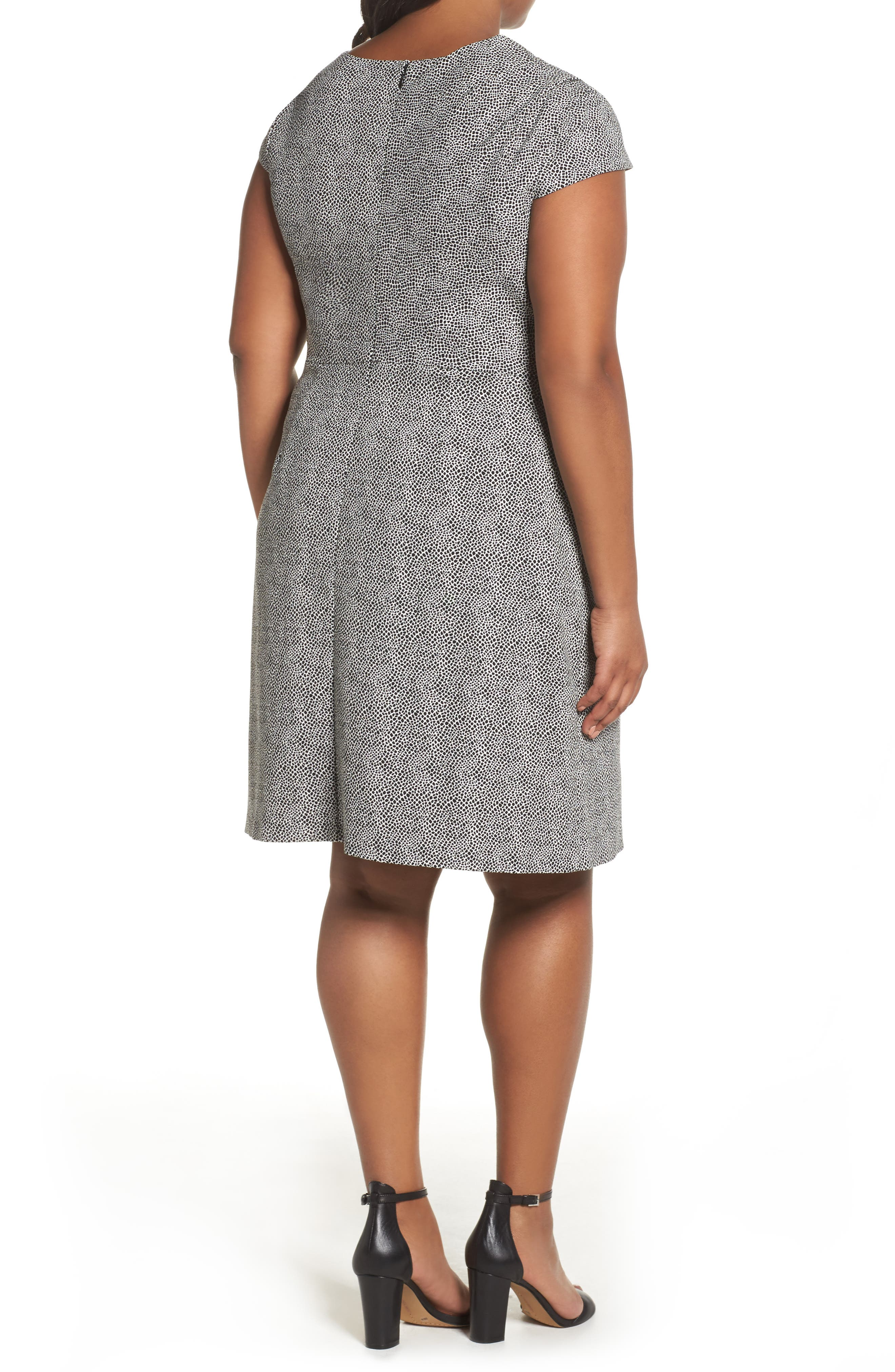Spotted Jacquard Fit & Flare Dress,                             Alternate thumbnail 2, color,                             001