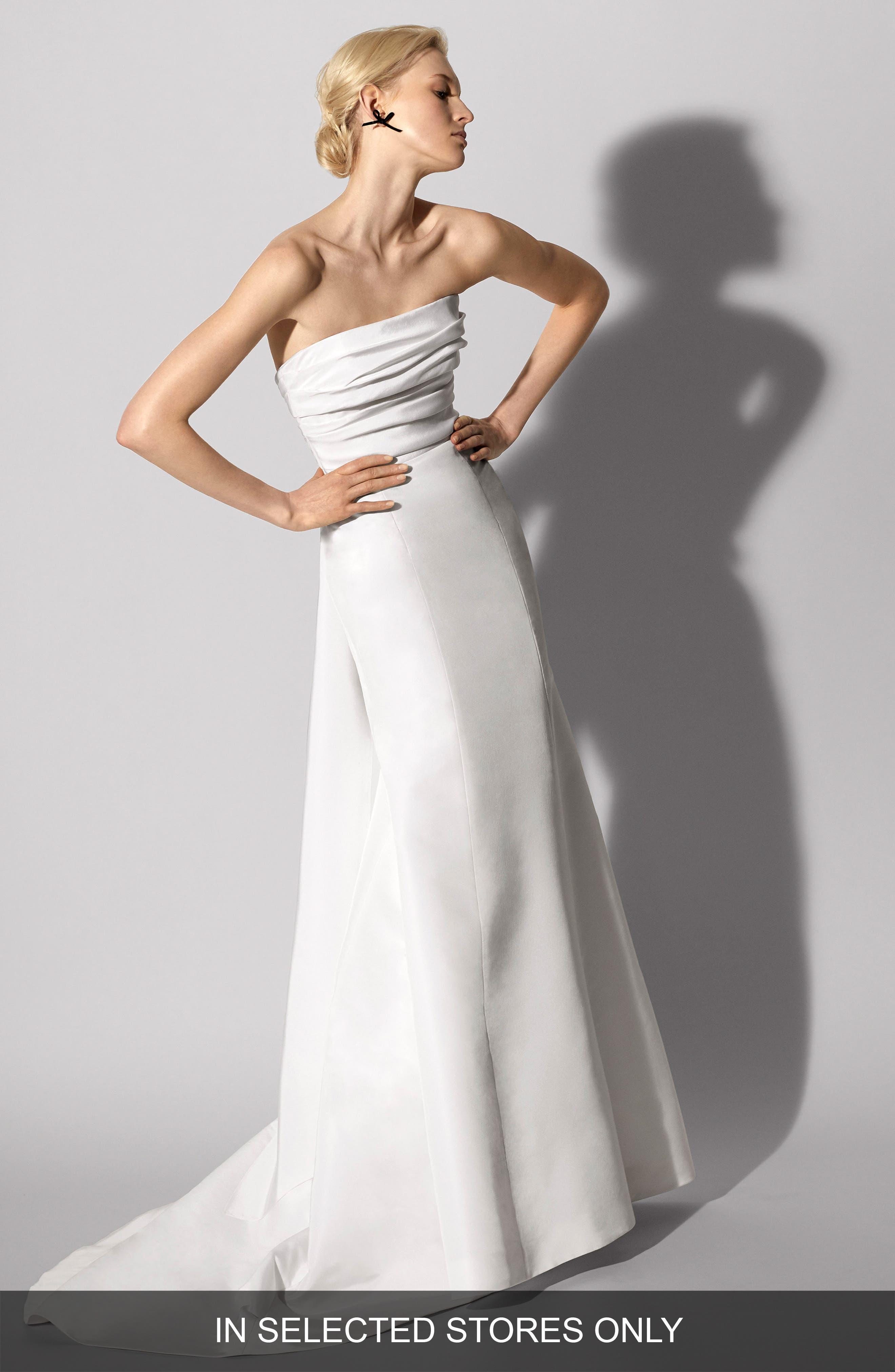 CAROLINA HERRERA Florianne Strapless Silk Faille Trumpet Gown, Main, color, 900
