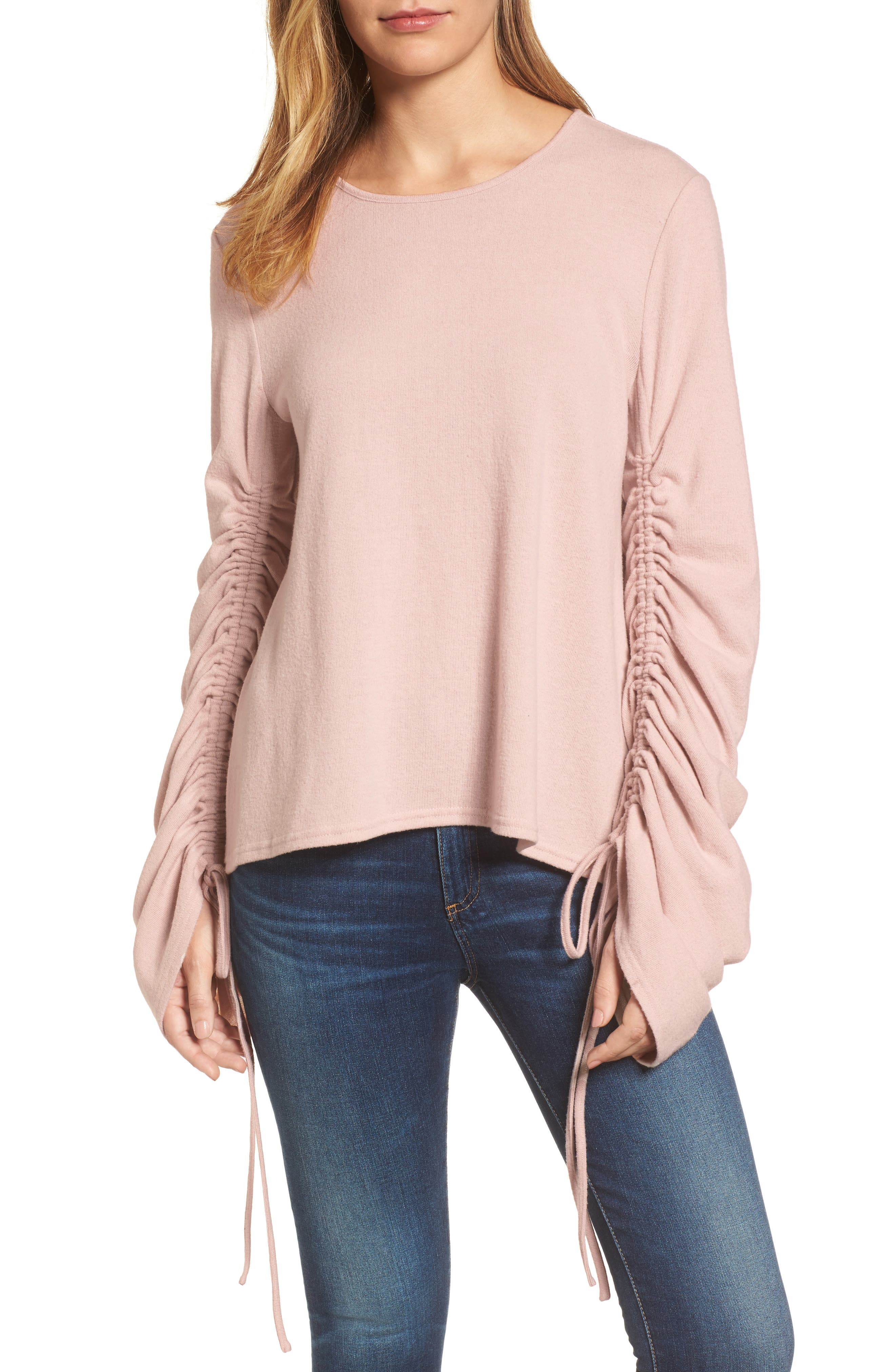 Brushed Jersey Ruched Sleeve Top,                             Main thumbnail 2, color,