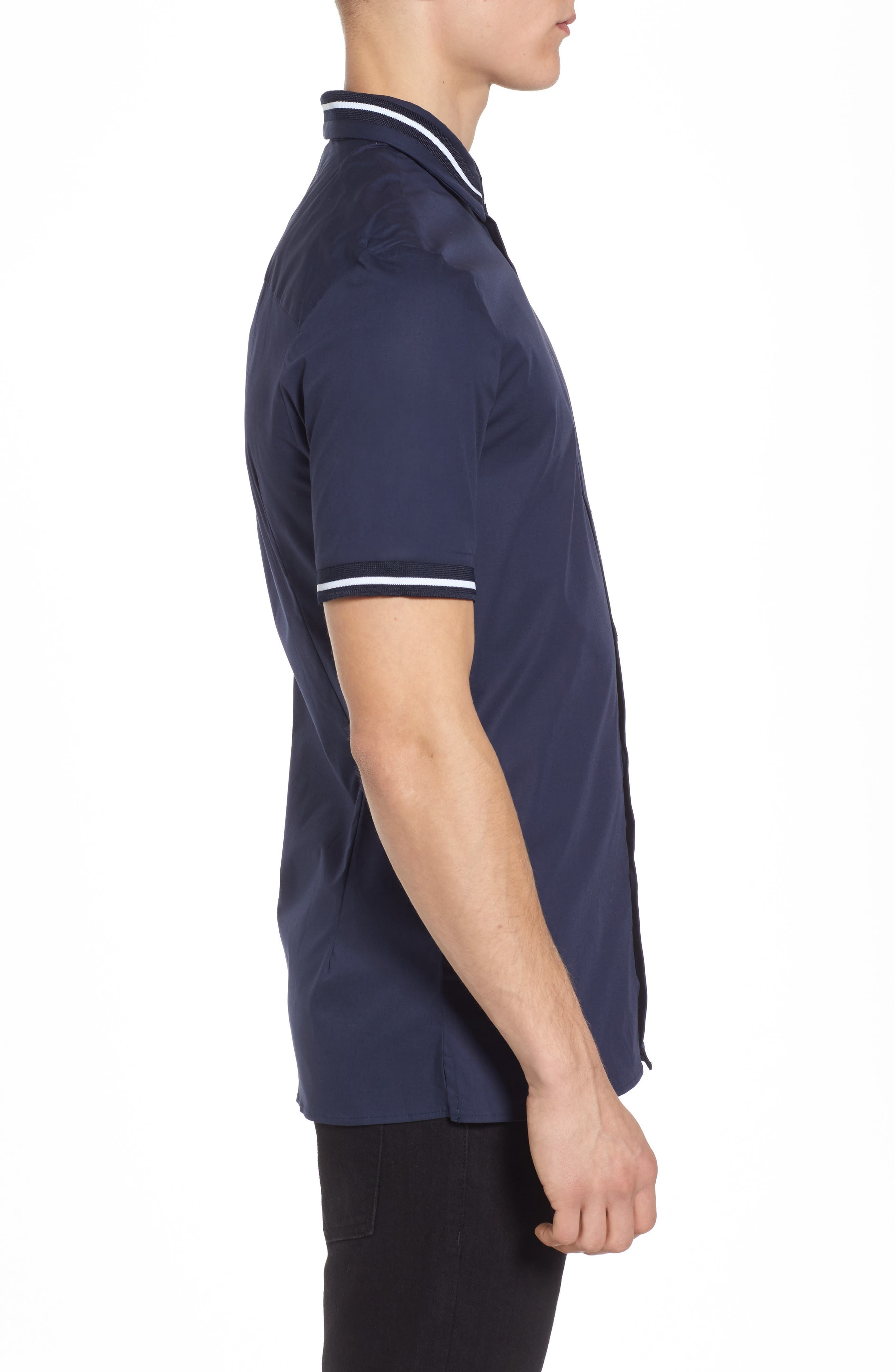 Muscle Fit Stripe Tipped Shirt,                             Alternate thumbnail 6, color,