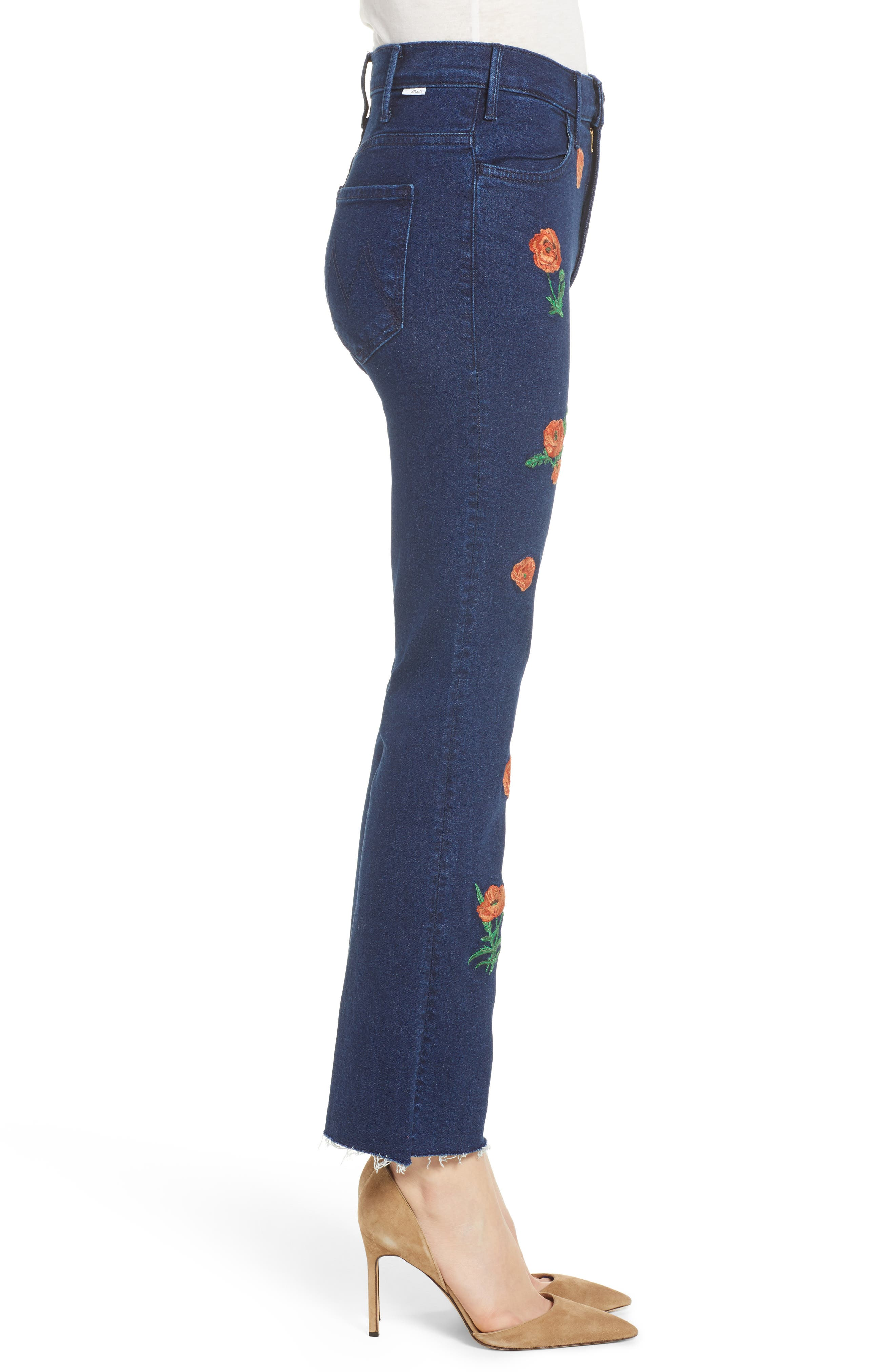 The Hustler Embroidered Fray Ankle Bootcut Jeans,                             Alternate thumbnail 3, color,                             001