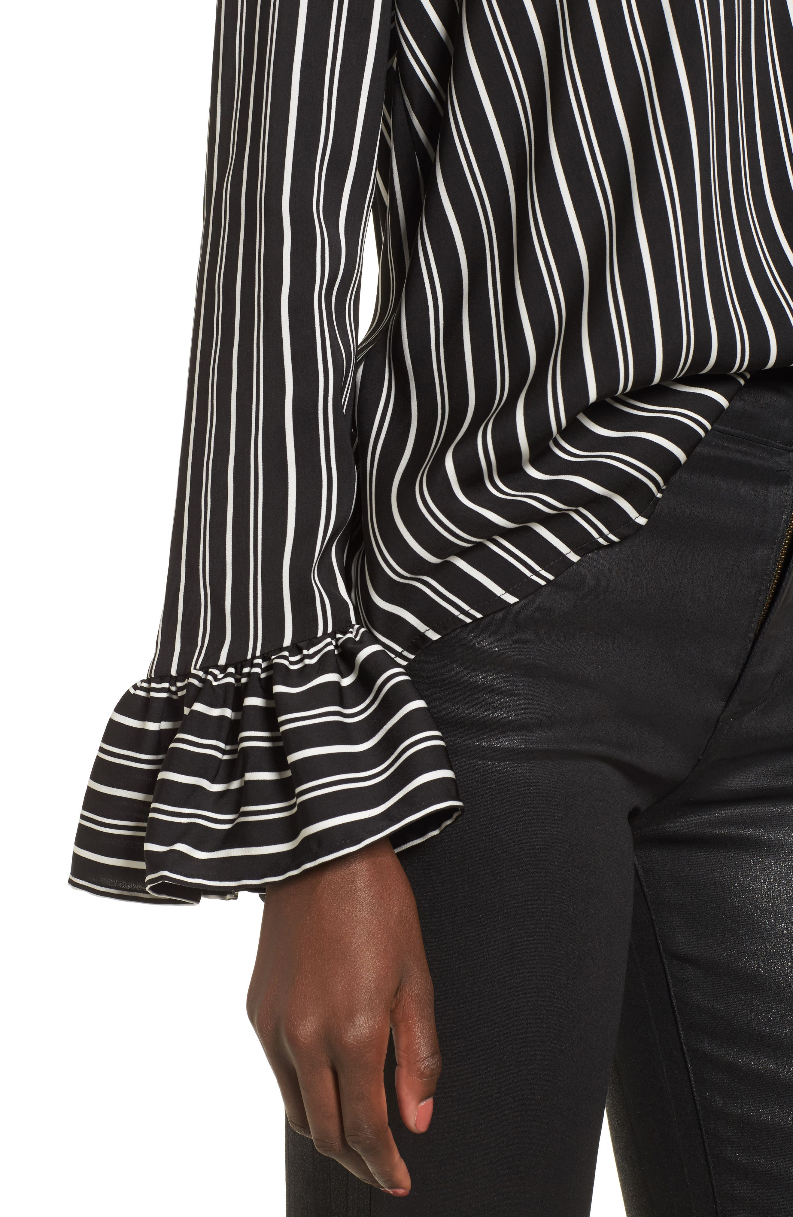 Ophelia Stripe Flare Cuff Top,                             Alternate thumbnail 4, color,