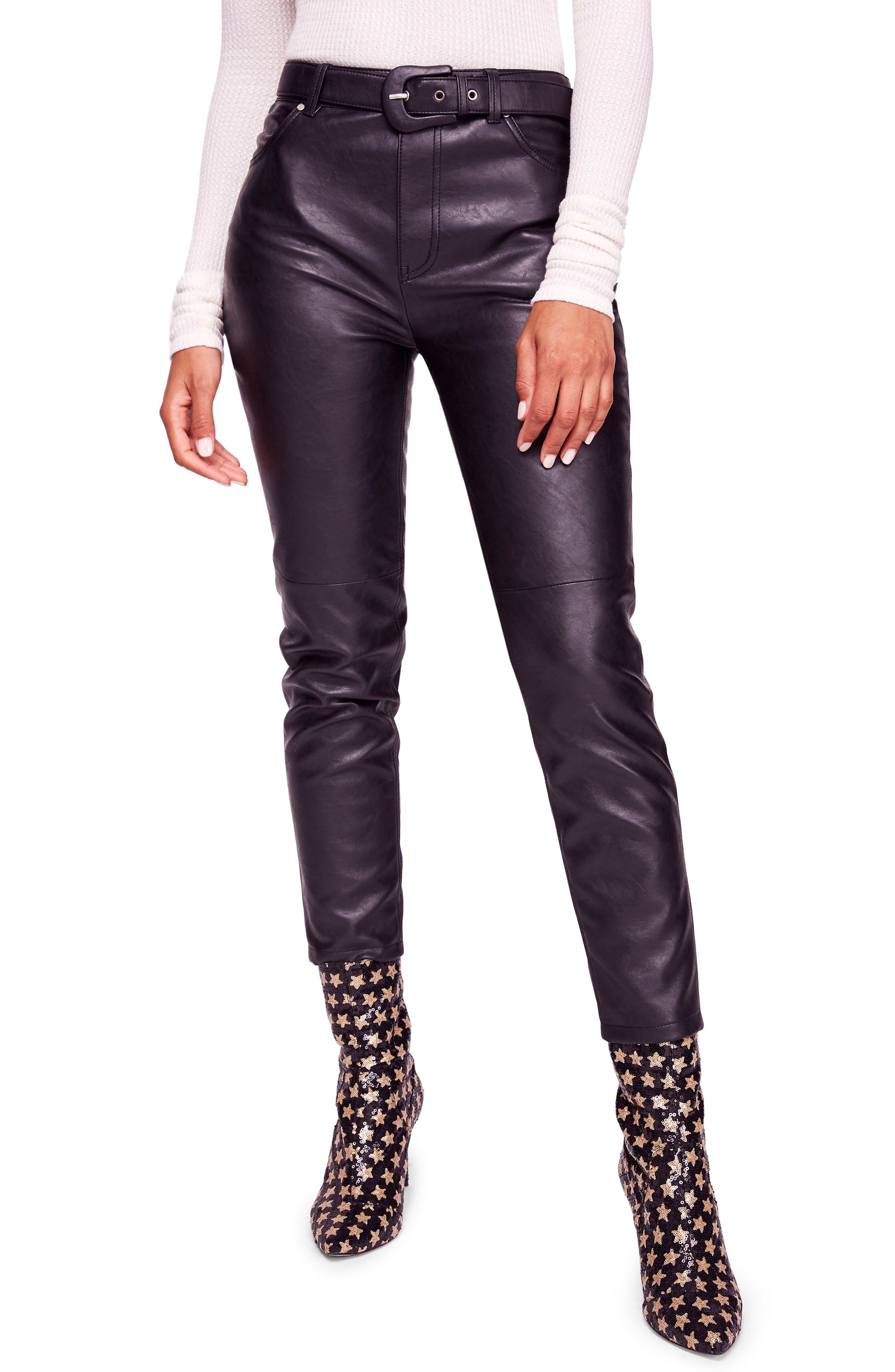 Belted Faux Leather Skinny Pants, Main, color, 001