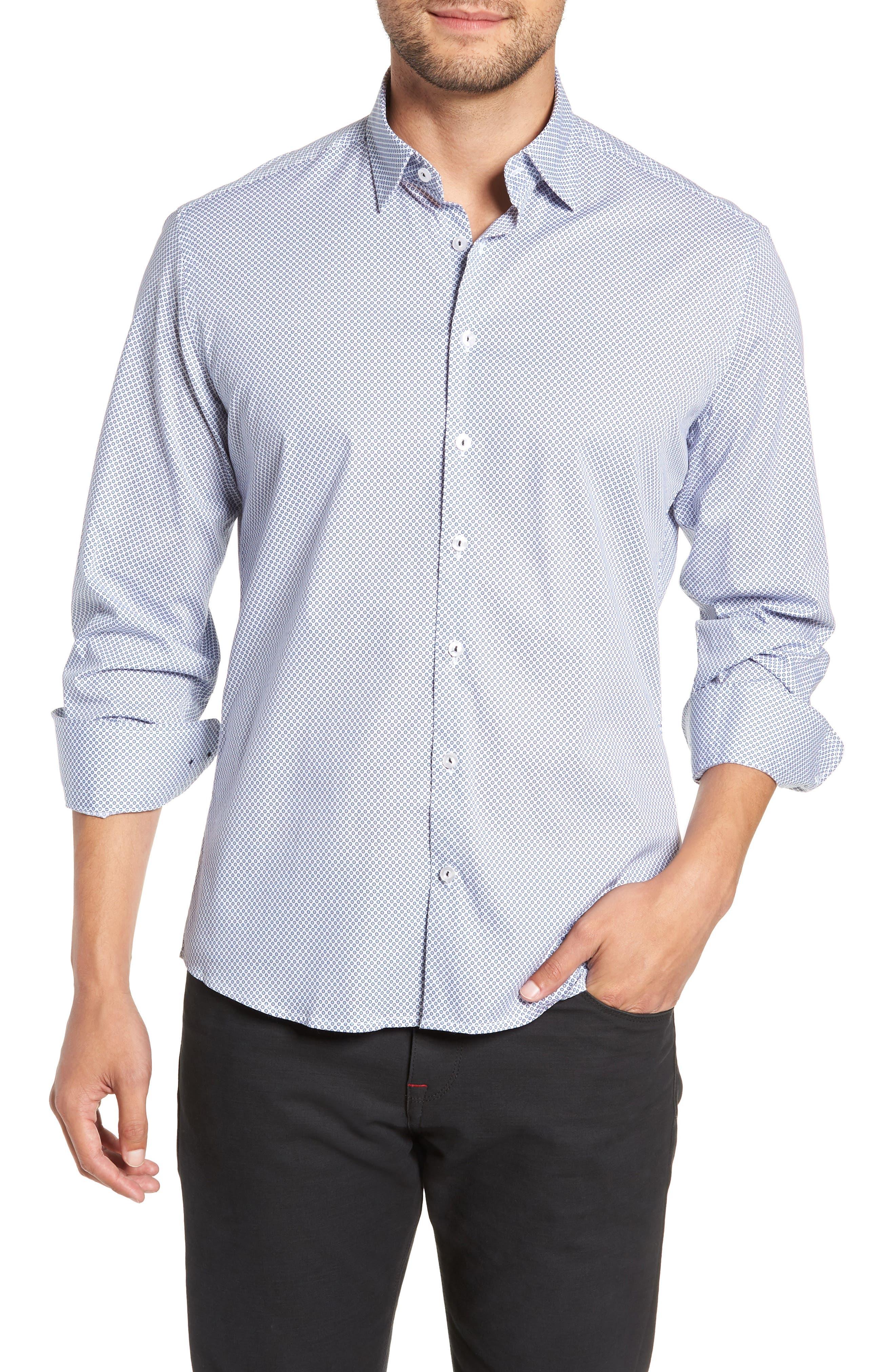 Regular Fit Geometric Print Sport Shirt,                             Main thumbnail 1, color,                             WHITE