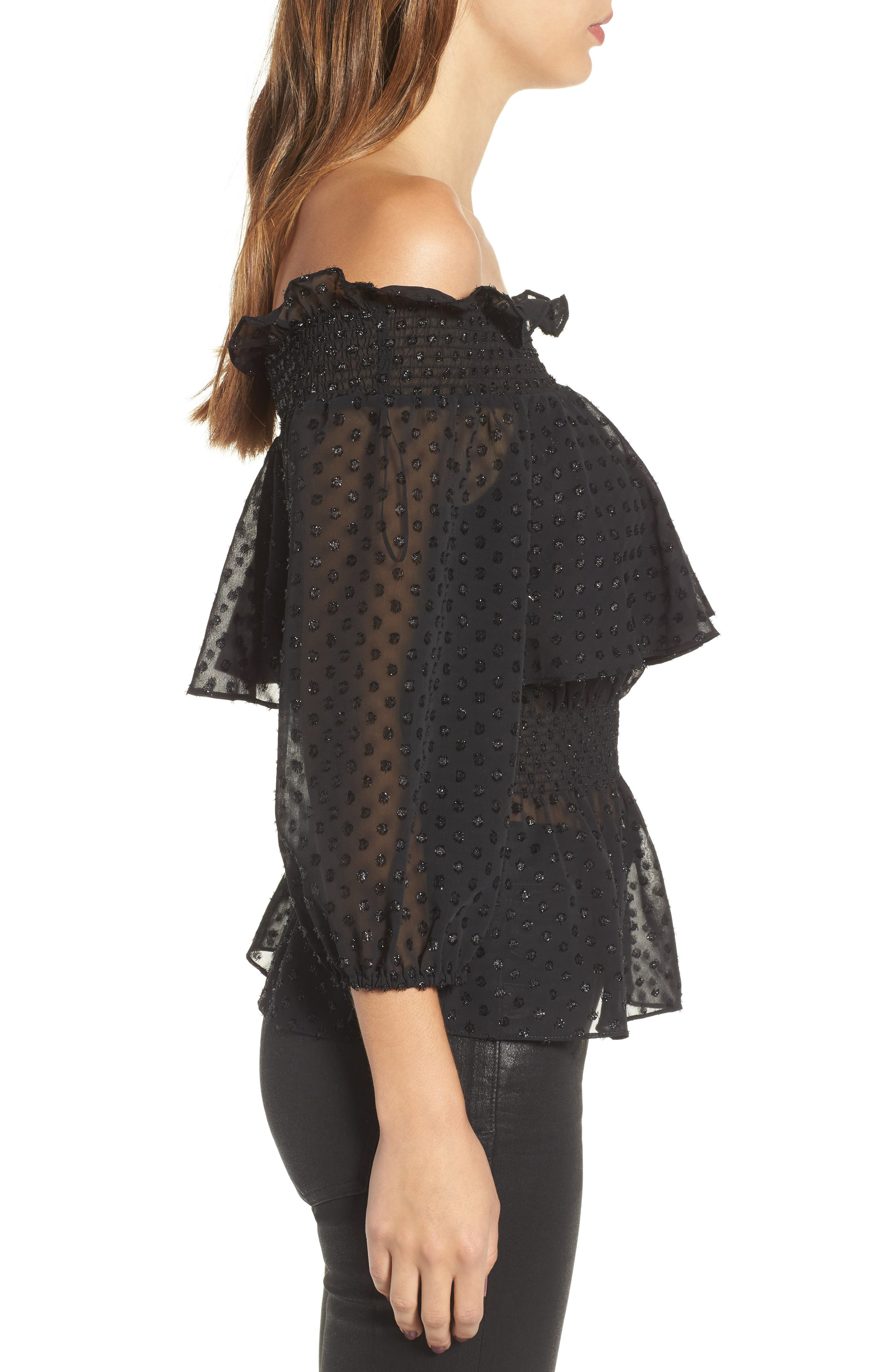 Roland Off the Shoulder Lace Blouse,                             Alternate thumbnail 3, color,                             001