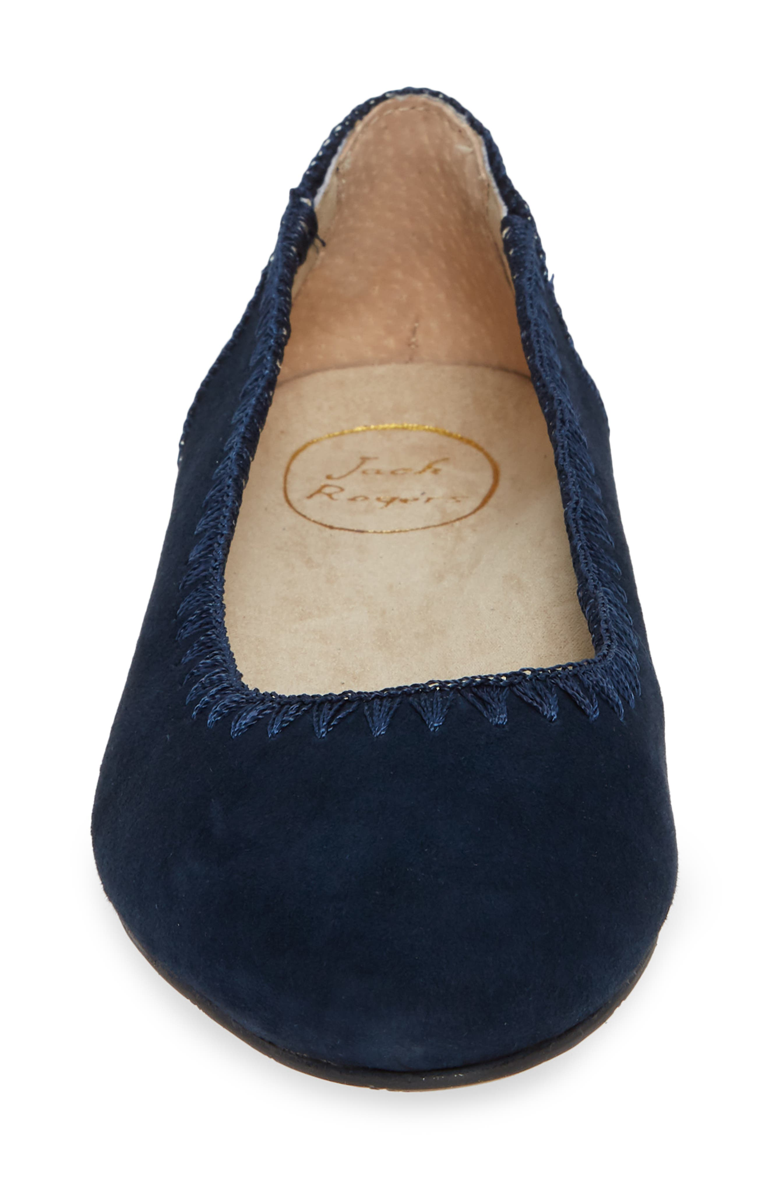 Ellie II Flat,                             Alternate thumbnail 4, color,                             MIDNIGHT BLUE SUEDE