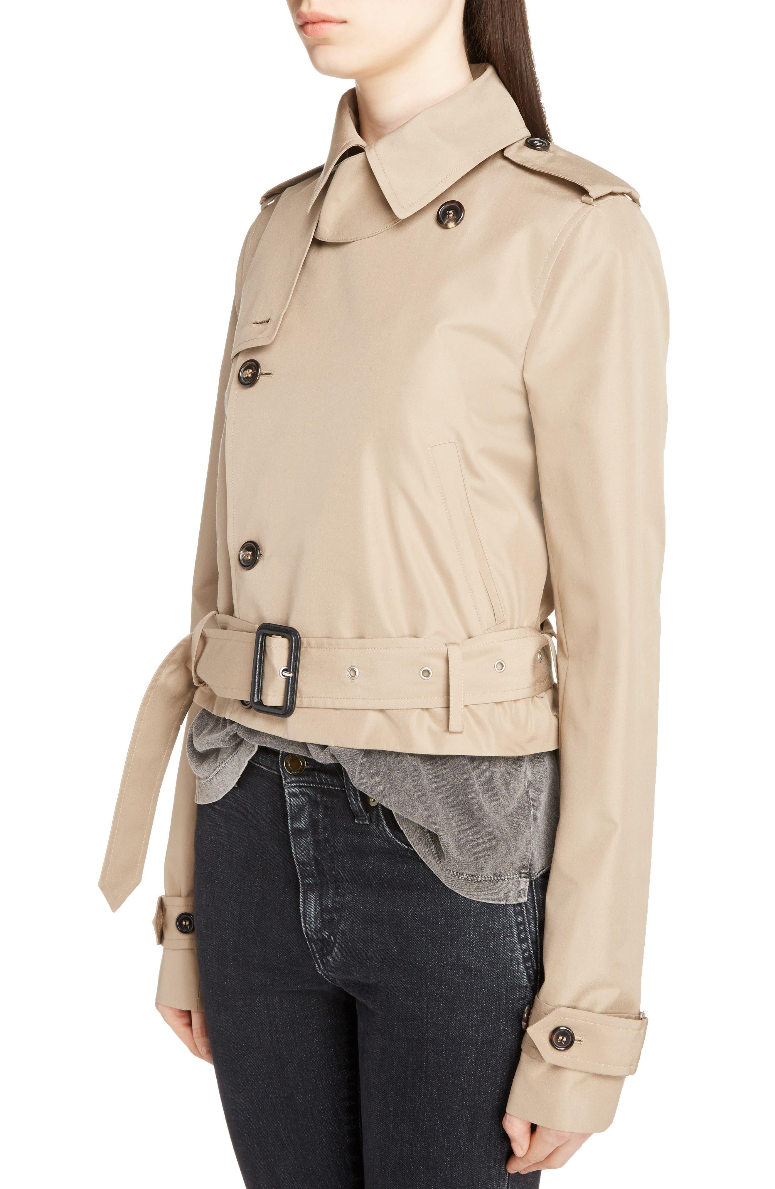 Cotton Gabardine Crop Trench Jacket,                             Alternate thumbnail 4, color,