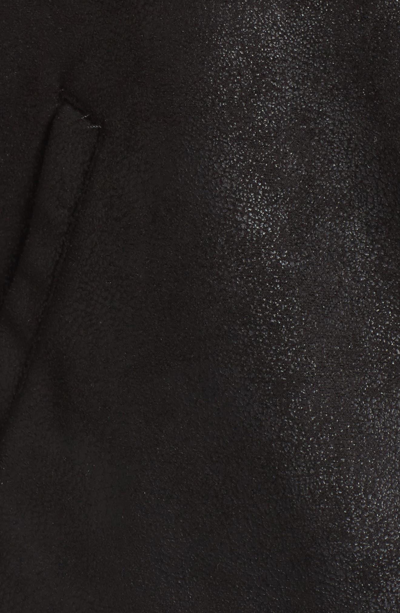 Faux Leather Moto Jacket,                             Alternate thumbnail 6, color,                             001