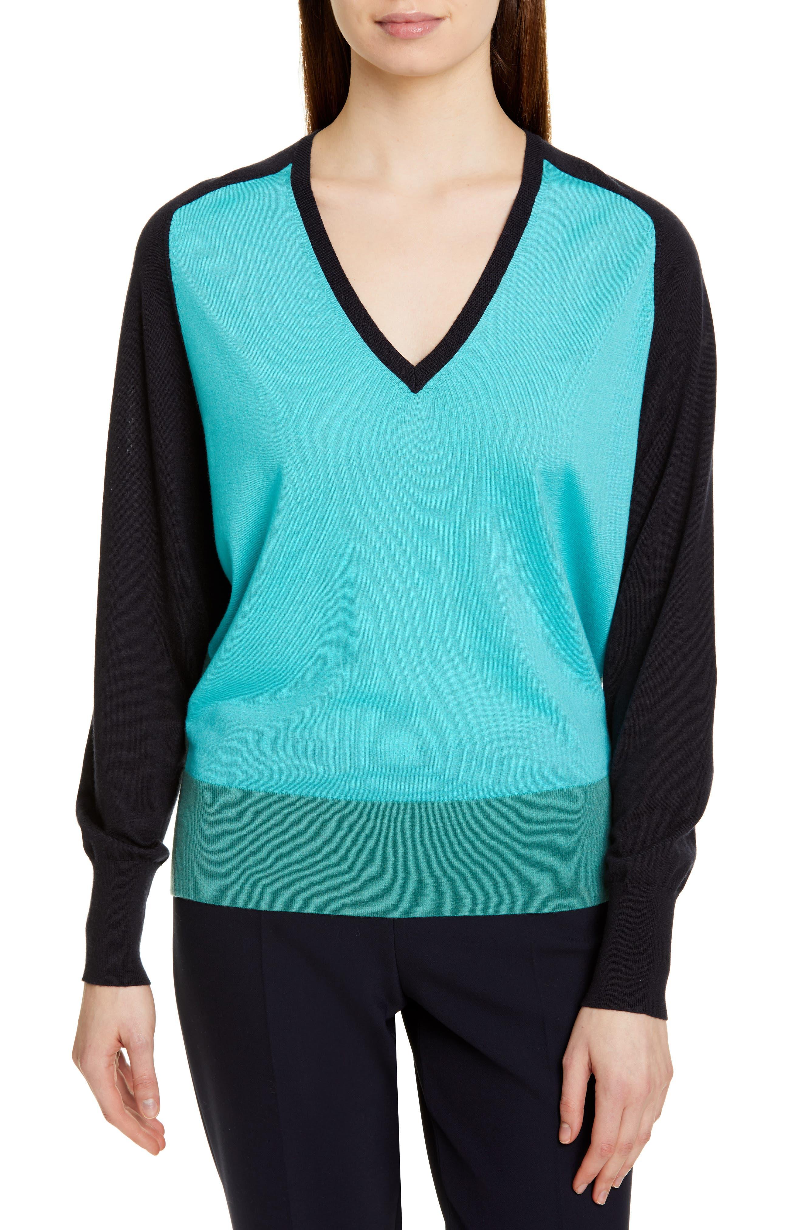 Boss Fysa Colorblock Wool Sweater, Blue