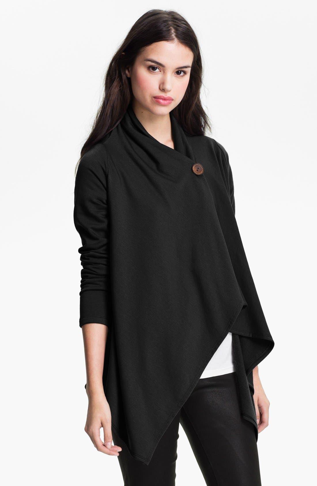 One-Button Fleece Wrap Cardigan,                             Main thumbnail 1, color,                             BLACK