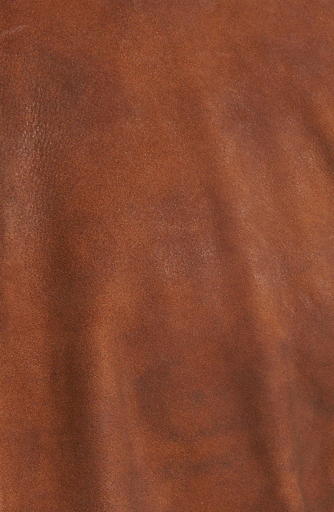 Classic Fit Distressed Leather Hybrid Coat,                             Alternate thumbnail 10, color,                             BROWN