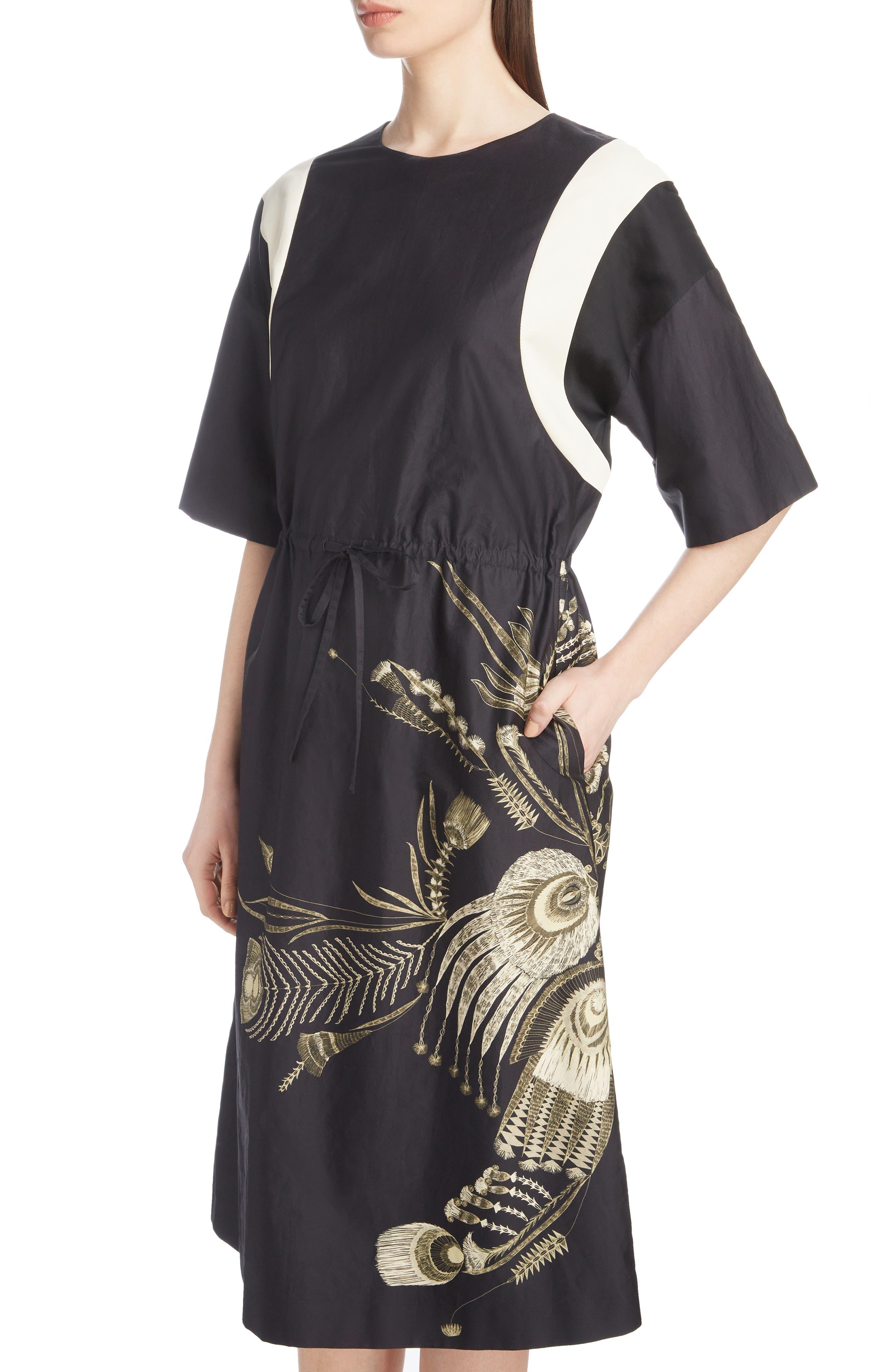 Placed Print Poplin Dress,                             Alternate thumbnail 4, color,                             BLACK