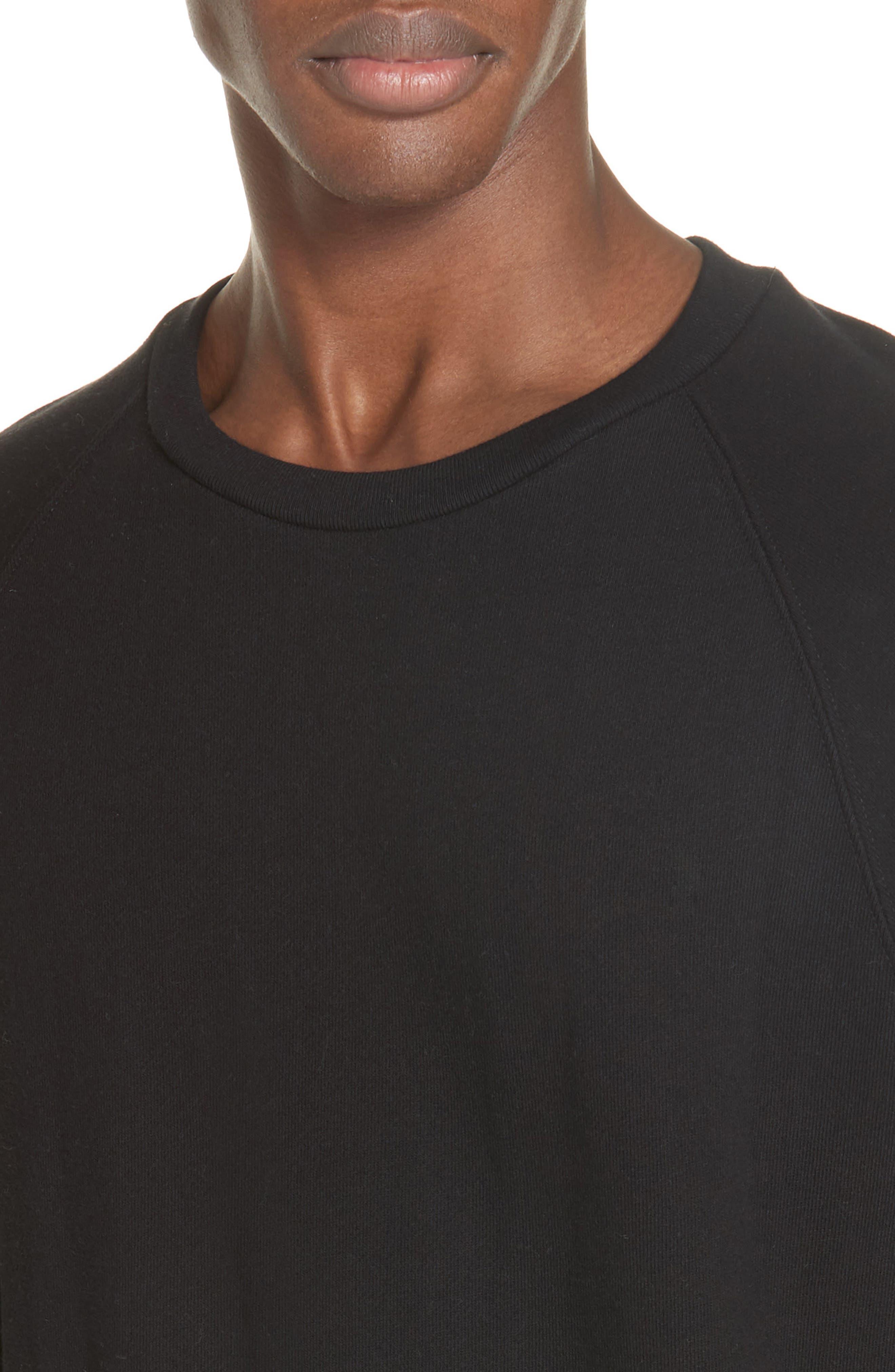 Raglan Crewneck Sweatshirt,                             Alternate thumbnail 4, color,                             BLACK
