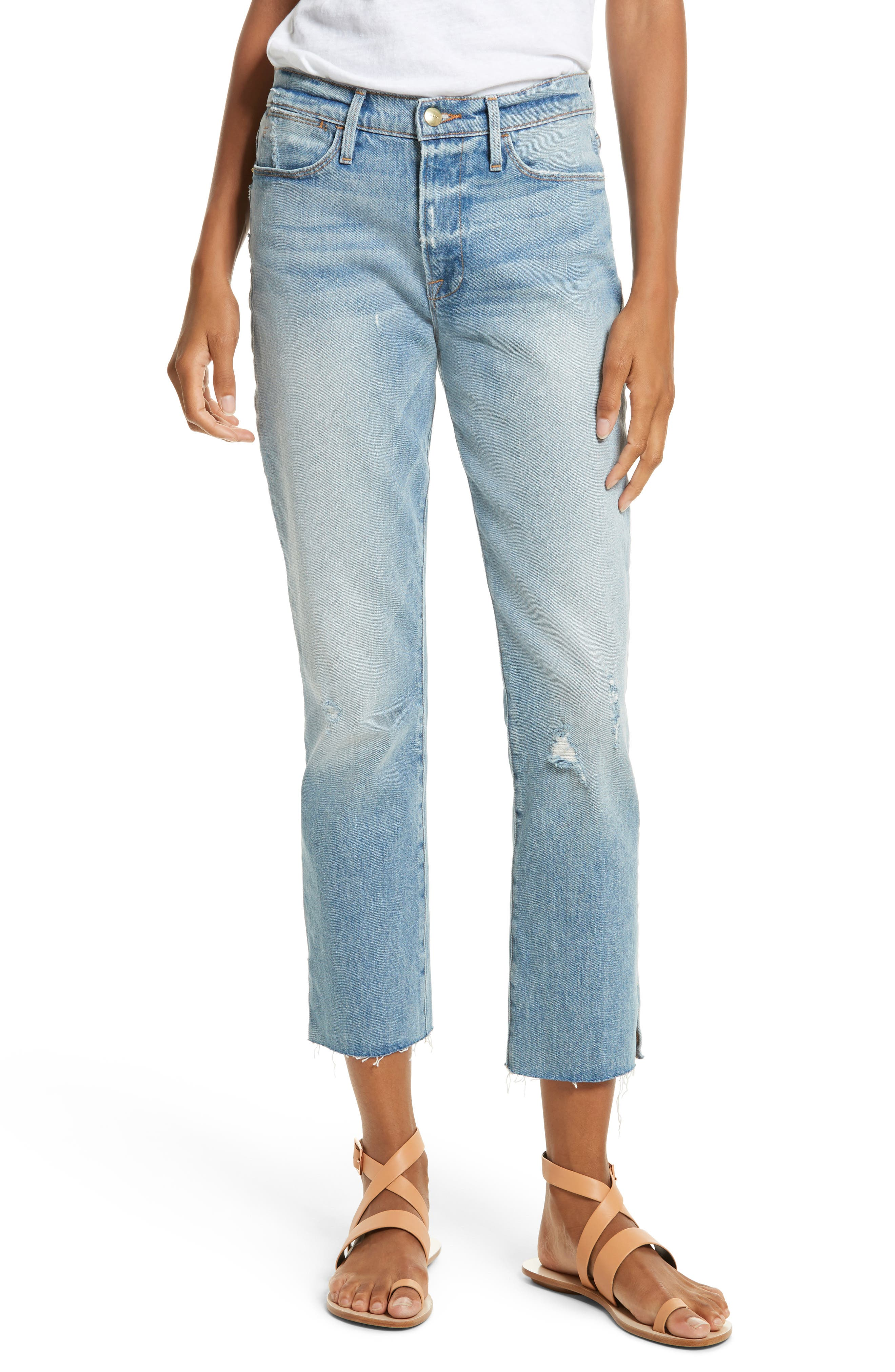 Le High Crop Straight Jeans,                         Main,                         color, 450