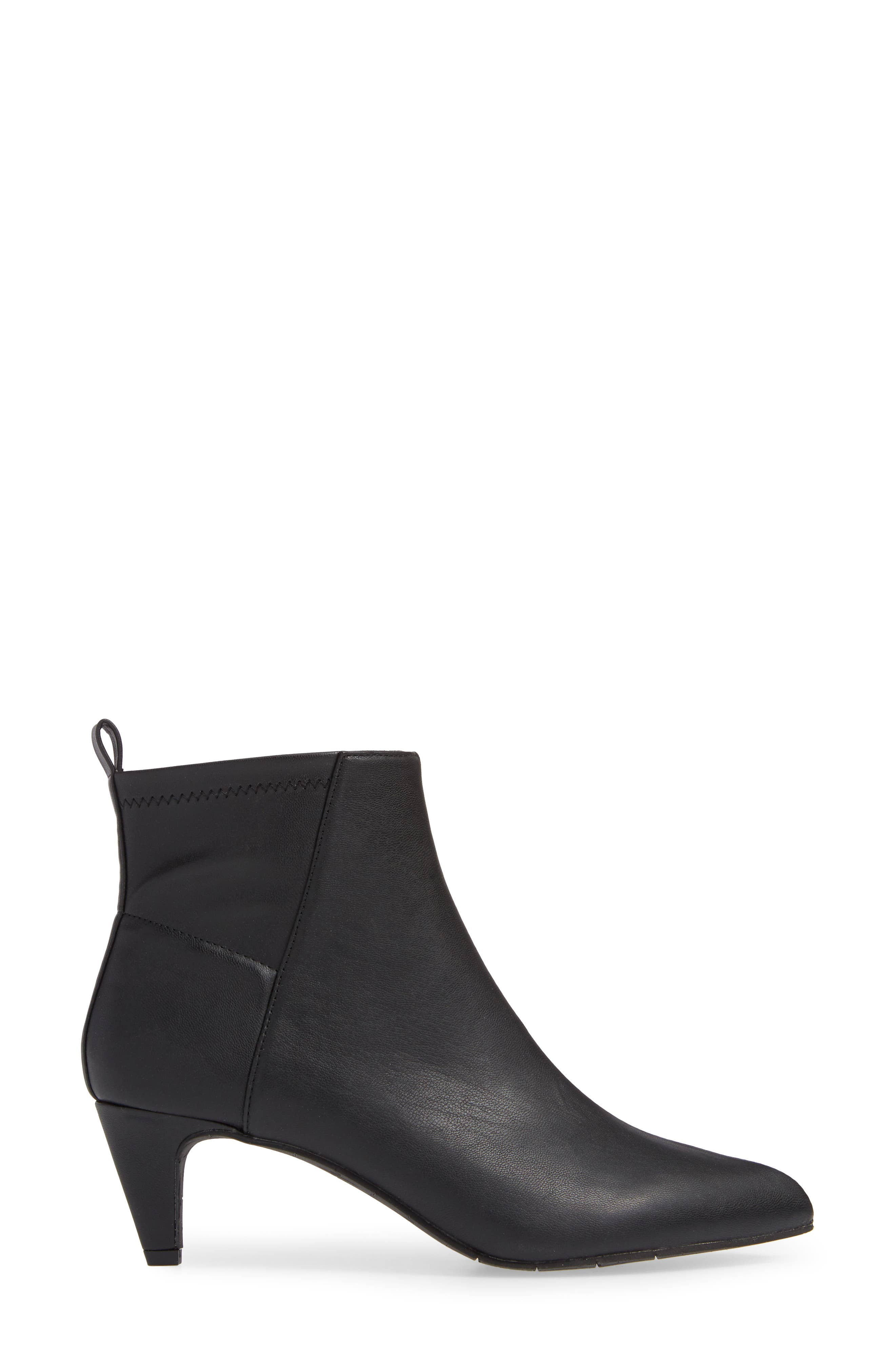 Millimeter Pointy Toe Bootie,                             Alternate thumbnail 3, color,                             BLACK STRETCH
