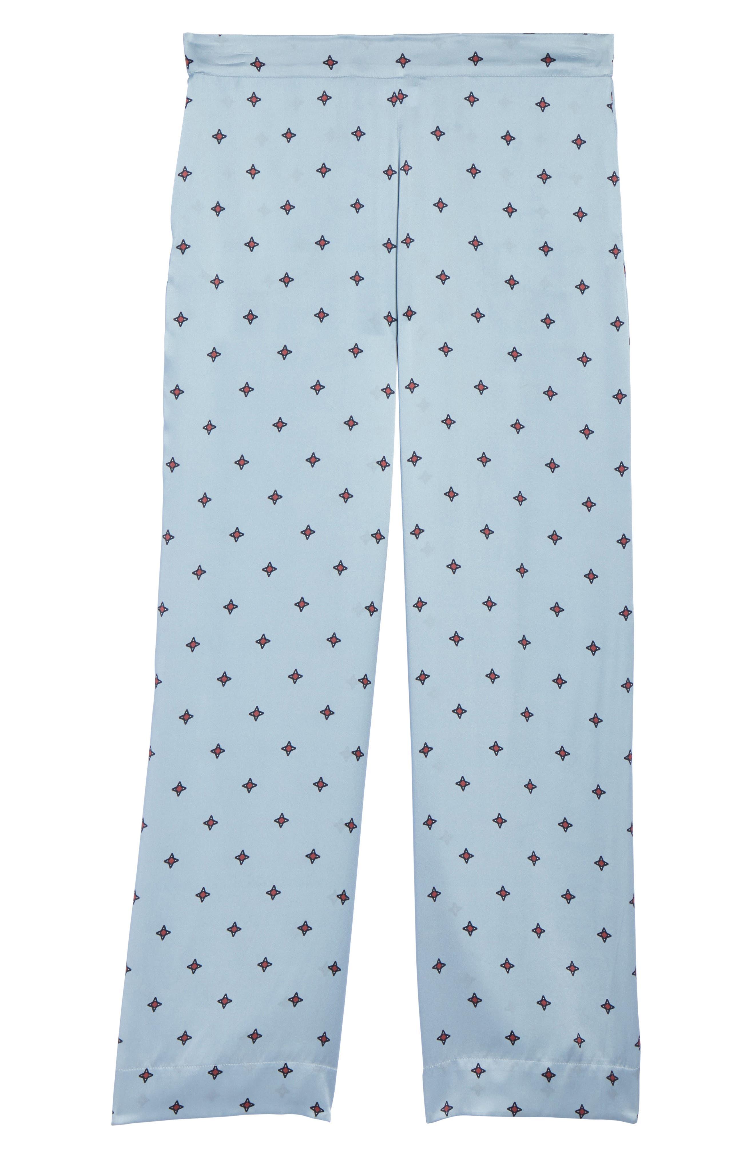 Print Silk Pajama Pants,                             Alternate thumbnail 6, color,                             400