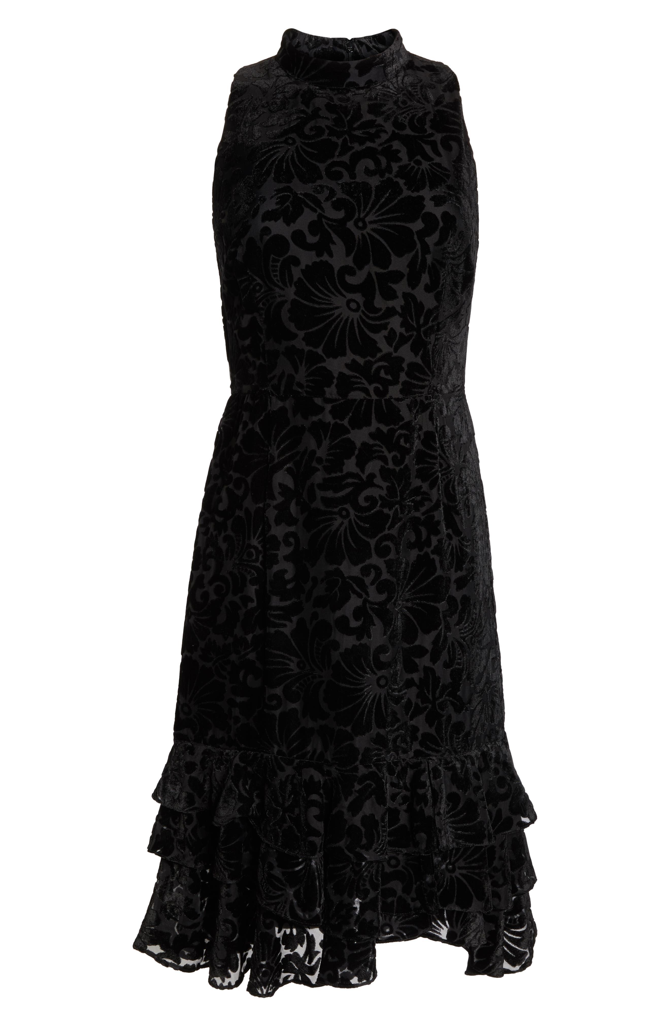 Burnout Velvet Sheath Dress,                             Alternate thumbnail 7, color,                             BLACK