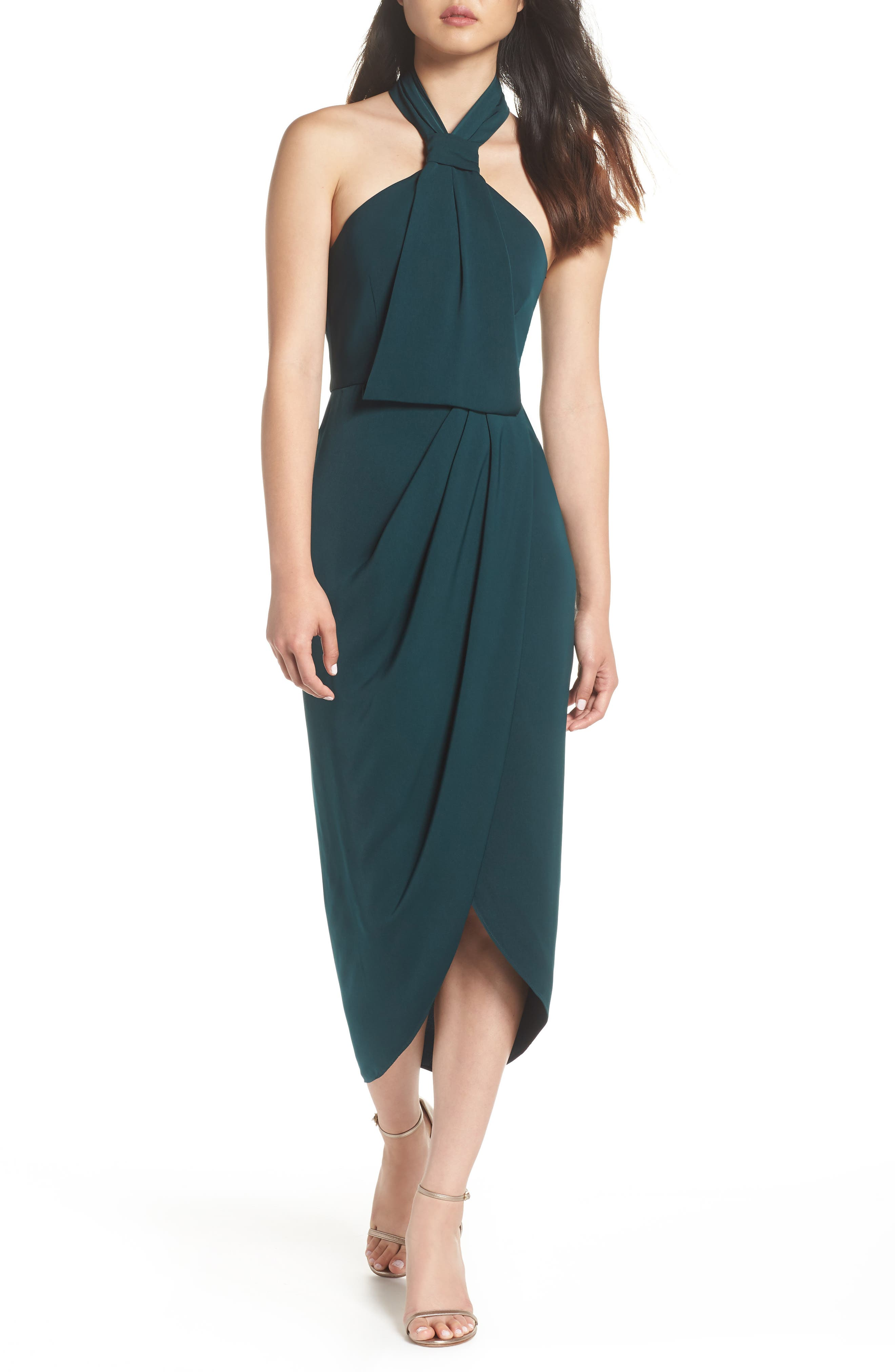 Knotted Tulip Hem Midi Dress,                             Main thumbnail 1, color,                             SEAWEED