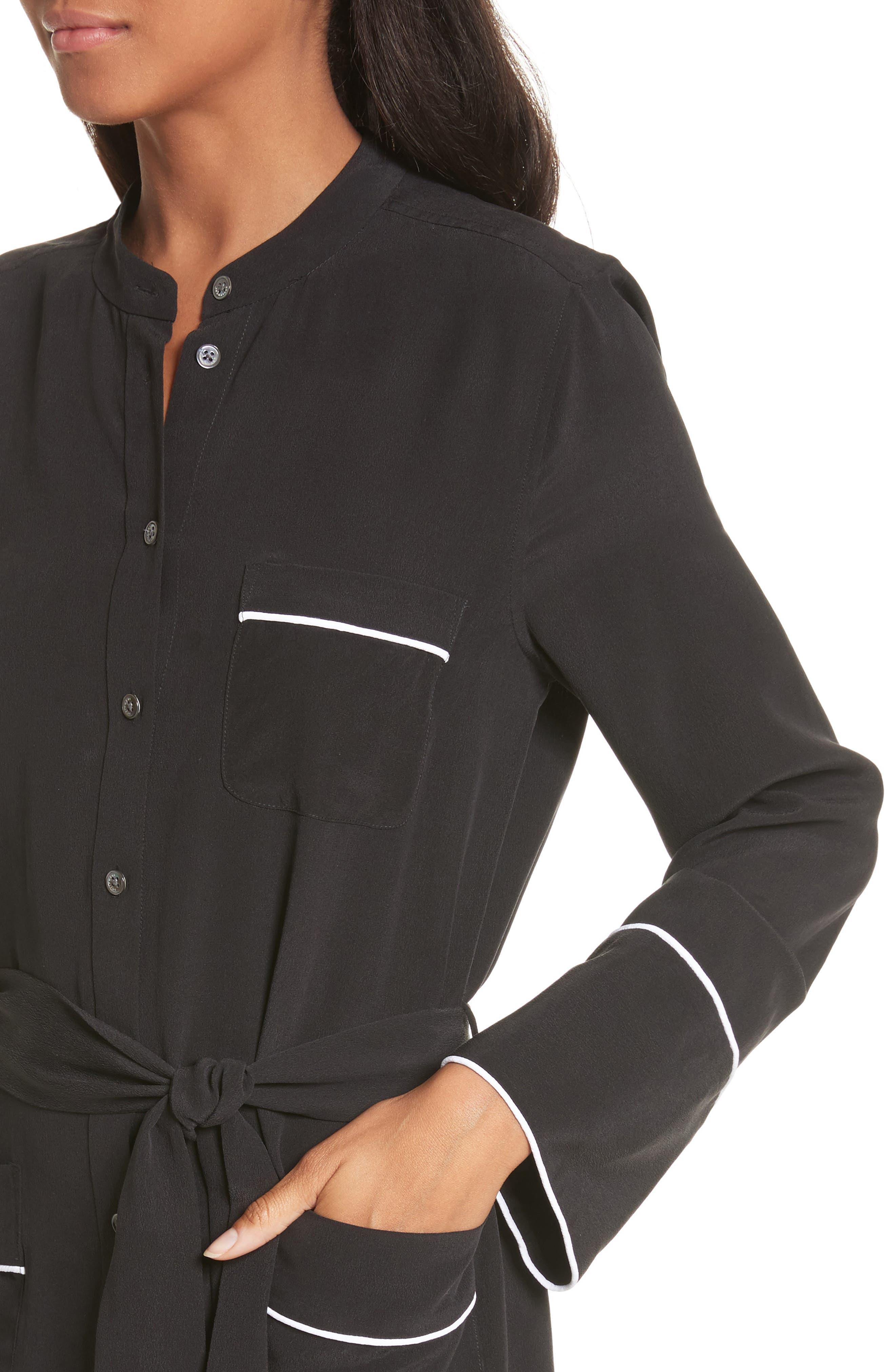 Britten Silk Shirtdress,                             Alternate thumbnail 4, color,                             003