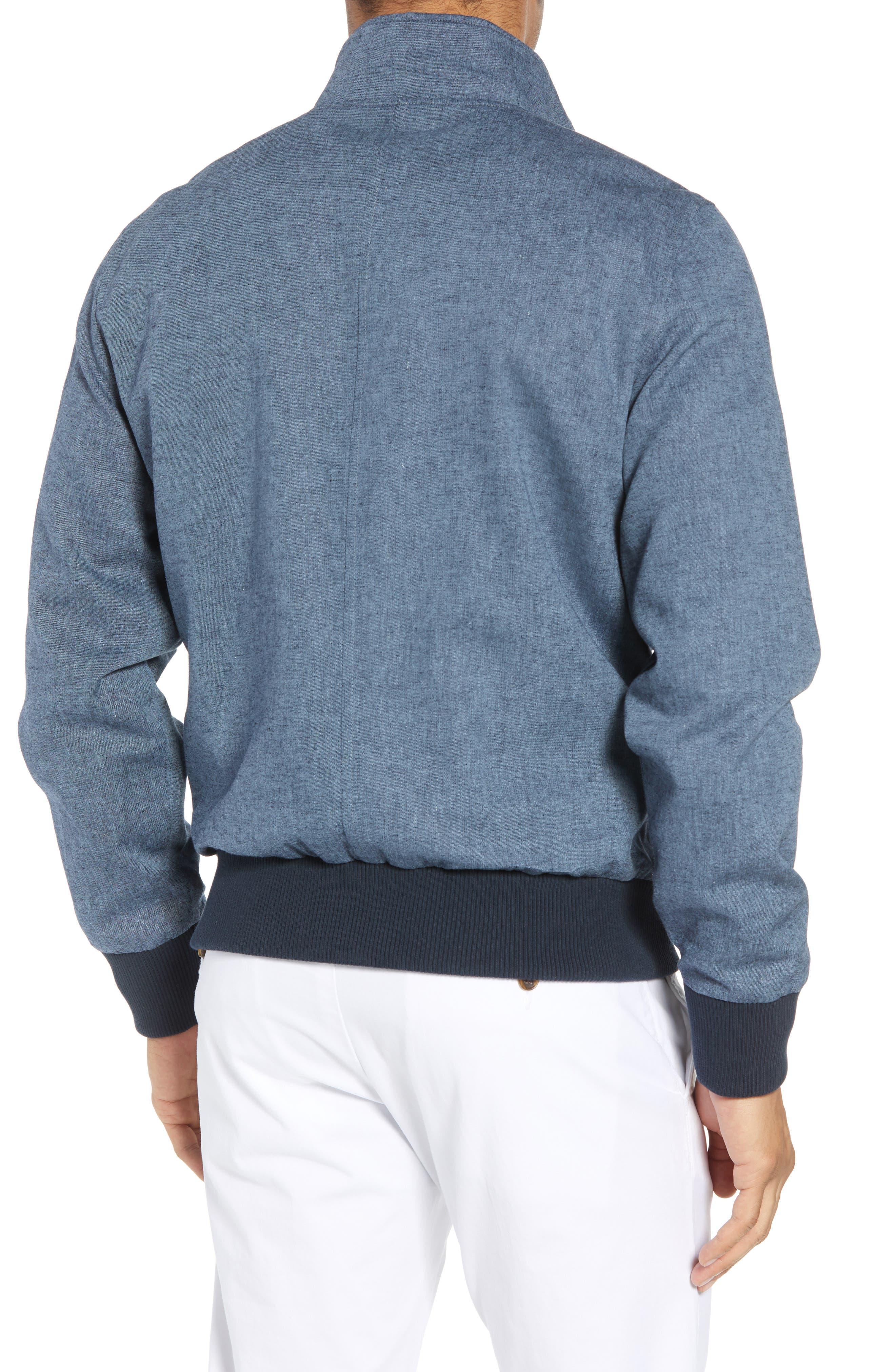 Linen & Cotton Chambray Bomber Jacket,                             Alternate thumbnail 2, color,                             400