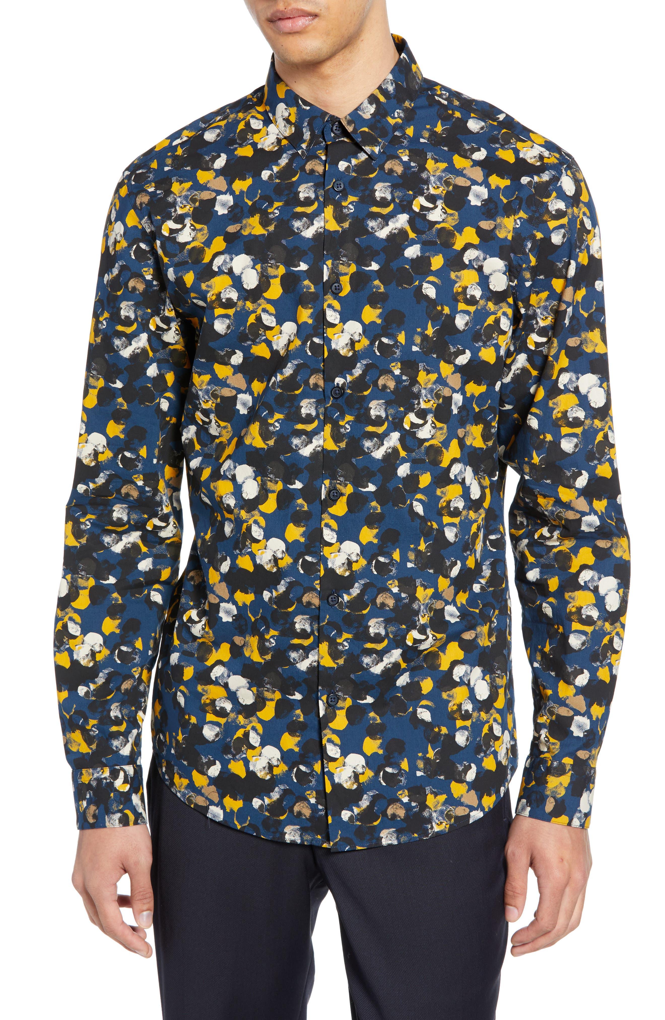 Selected Homme Josh Slim Fit Print Sport Shirt, Black
