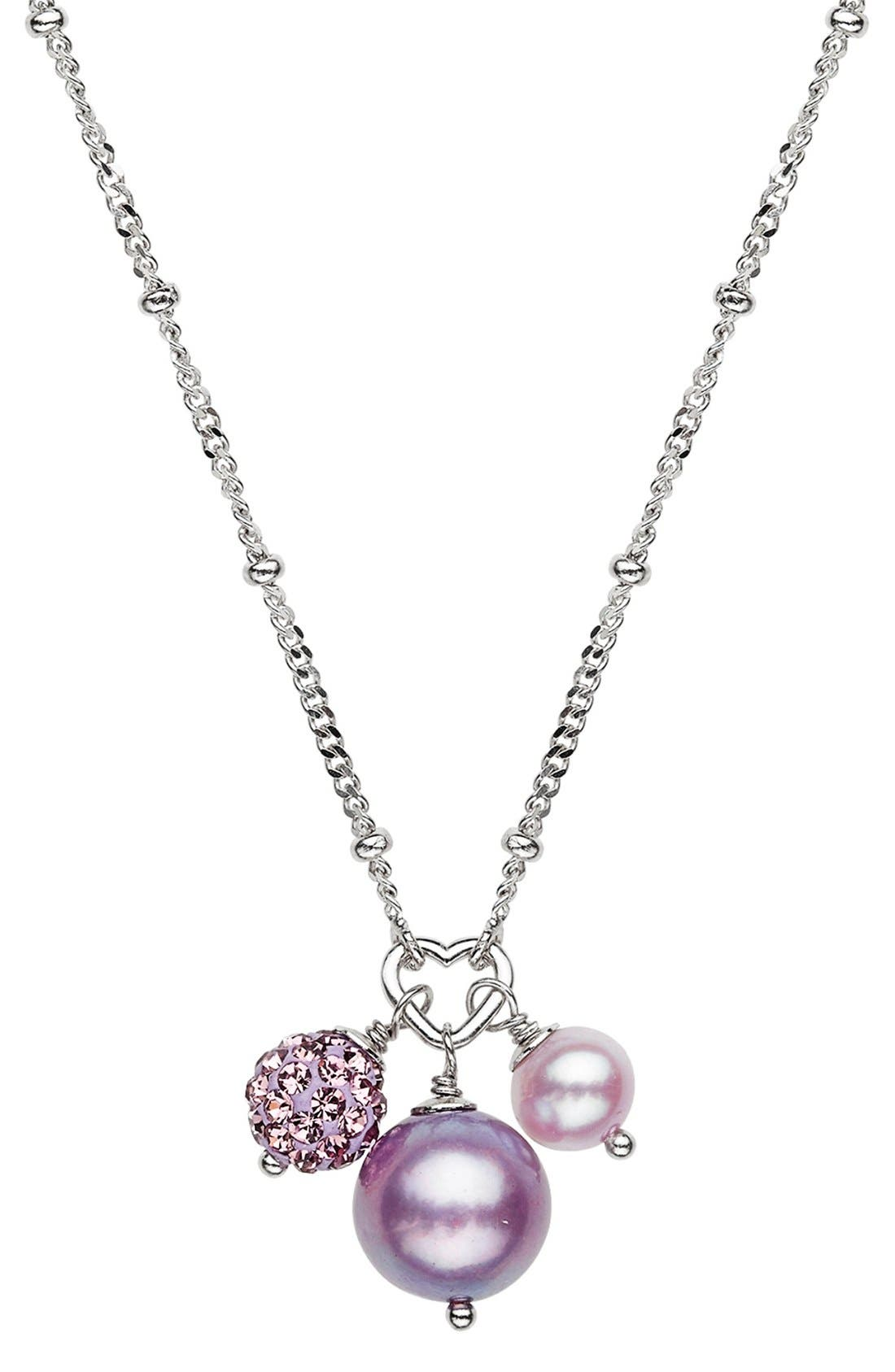 Freshwater Pearl & Crystal Necklace,                             Main thumbnail 1, color,                             LILAC