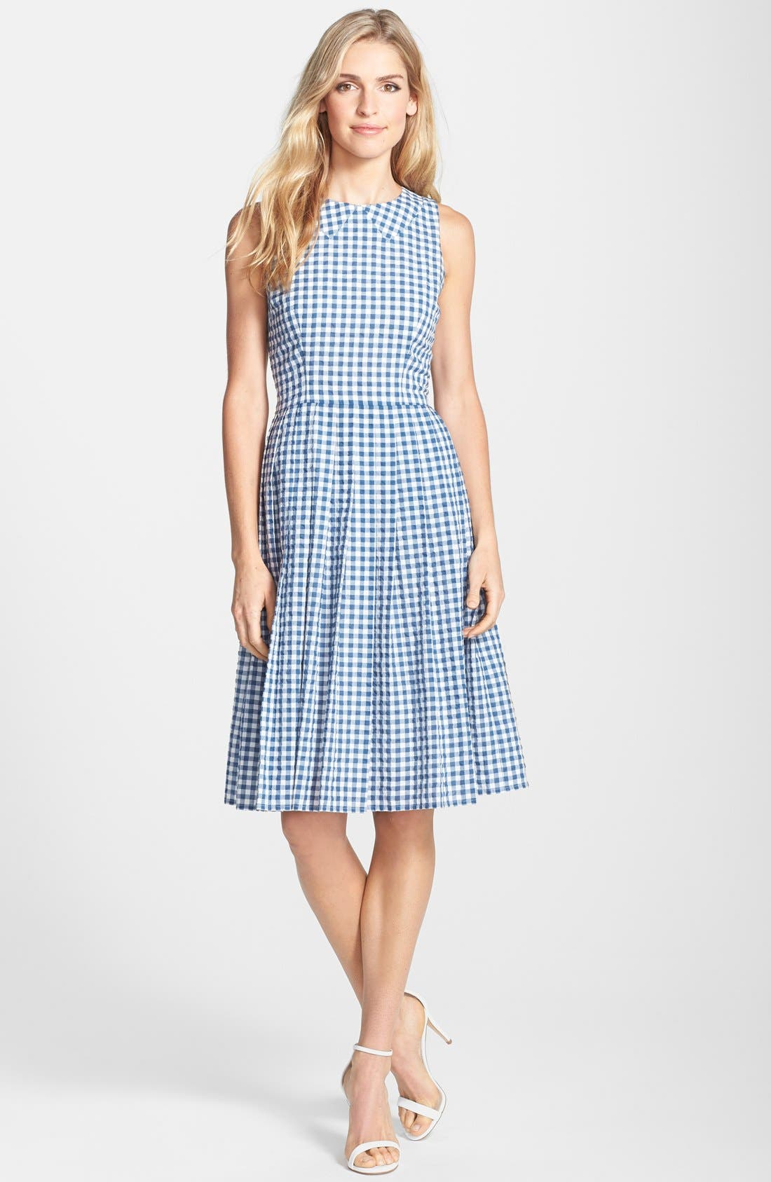 Gingham Cotton Fit & Flare Midi Dress,                             Main thumbnail 1, color,                             400