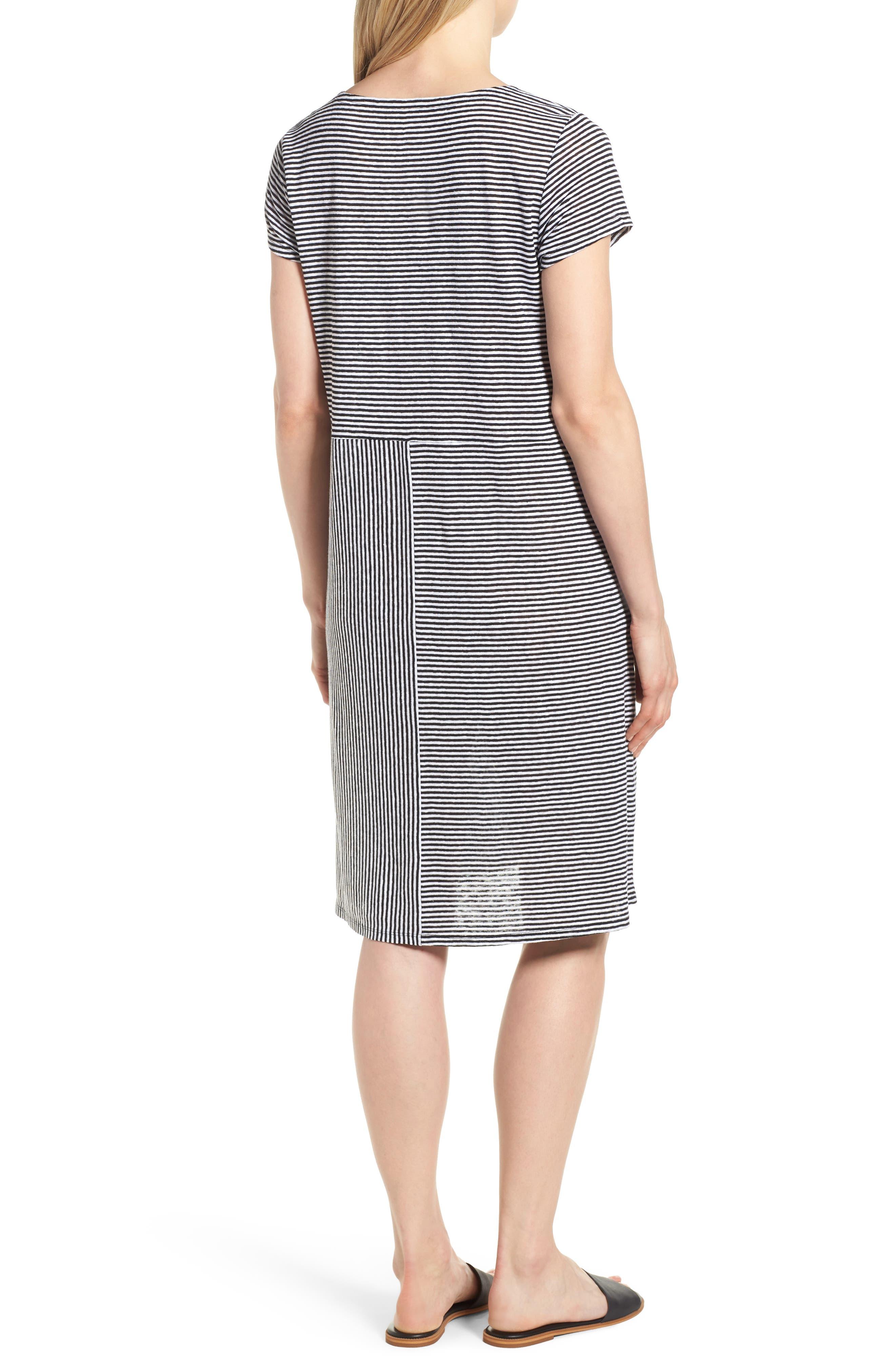 Stripe Organic Linen Jersey Shift Dress,                             Alternate thumbnail 2, color,                             BLACK/ WHITE