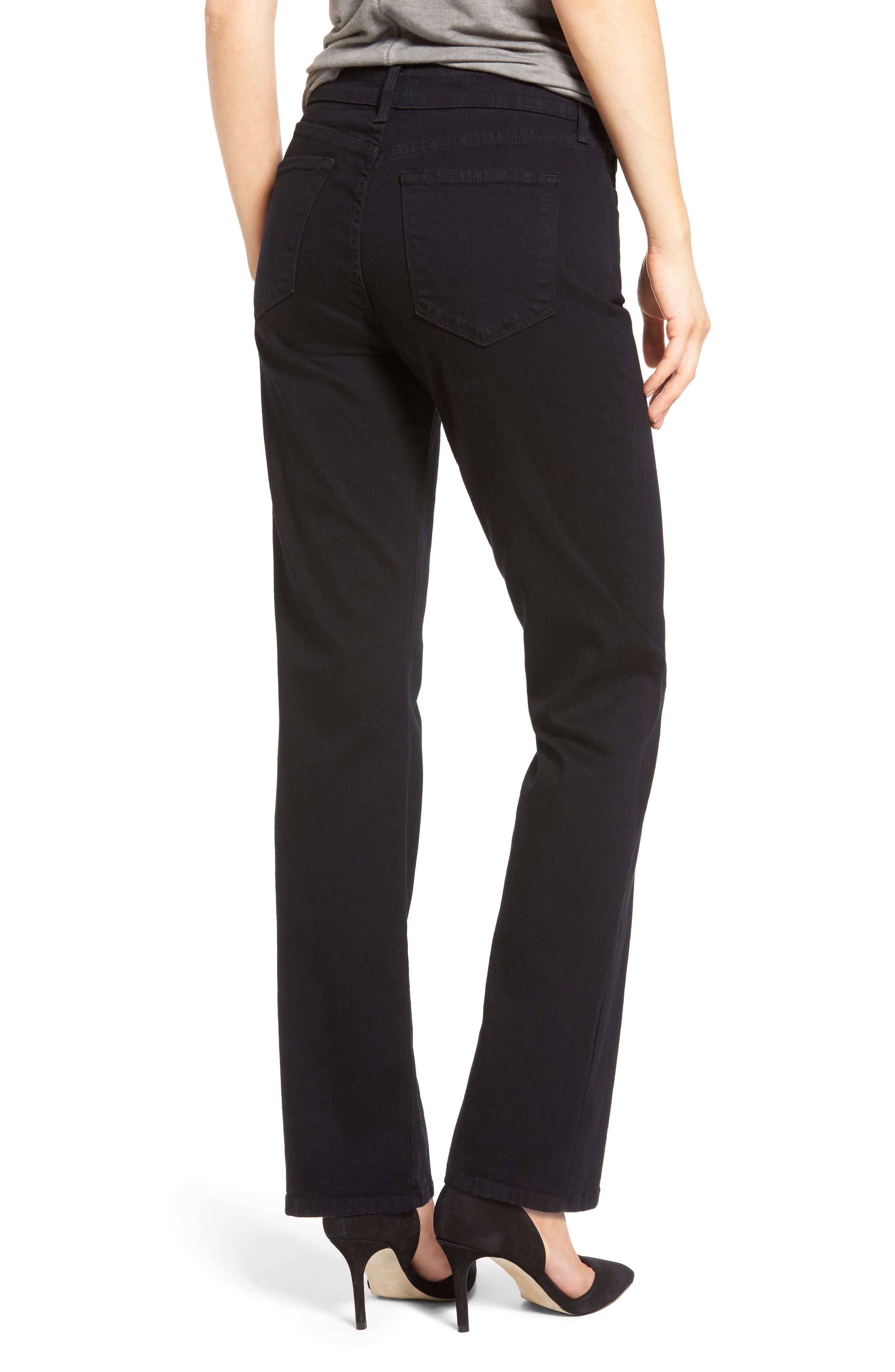 NYDJ,                             Marilyn High Waist Stretch Straight Leg Jeans,                             Alternate thumbnail 2, color,                             BLACK