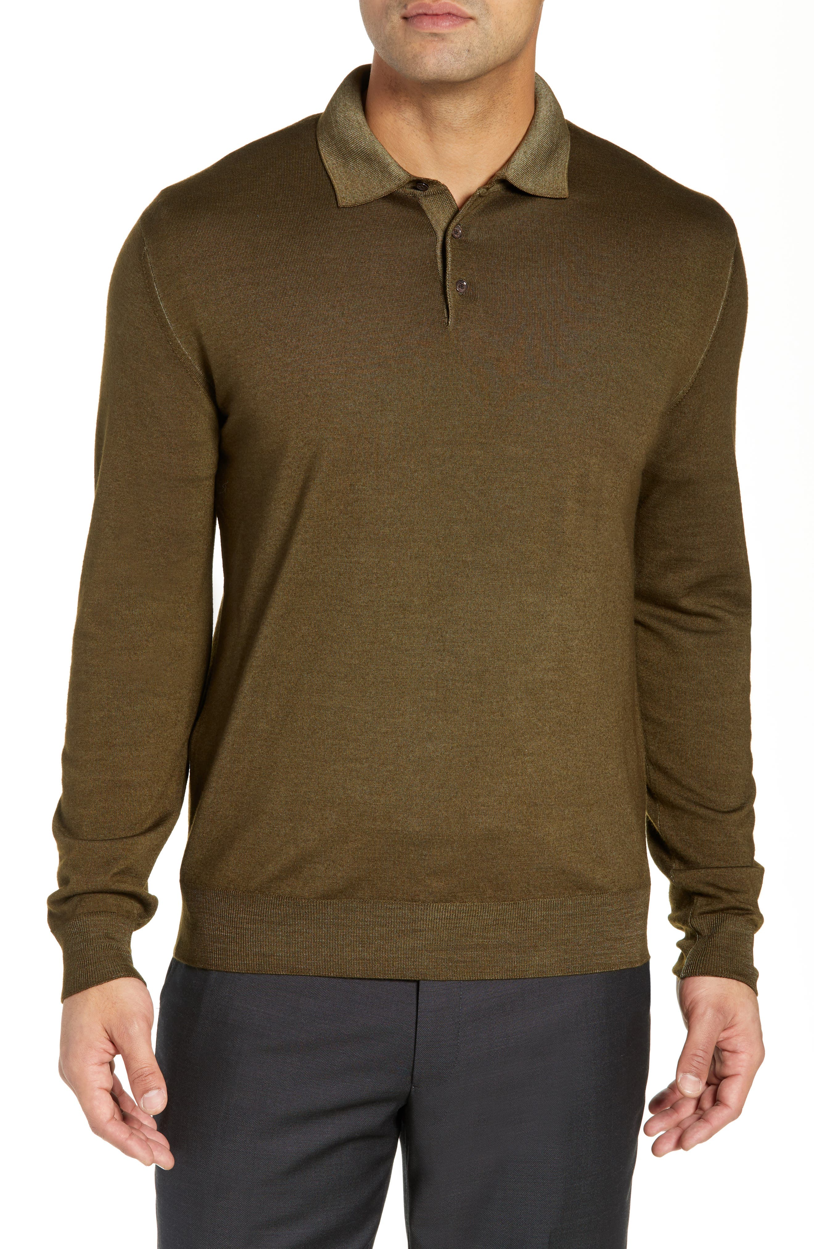 Dustin Wool Polo Sweater,                         Main,                         color, GREEN