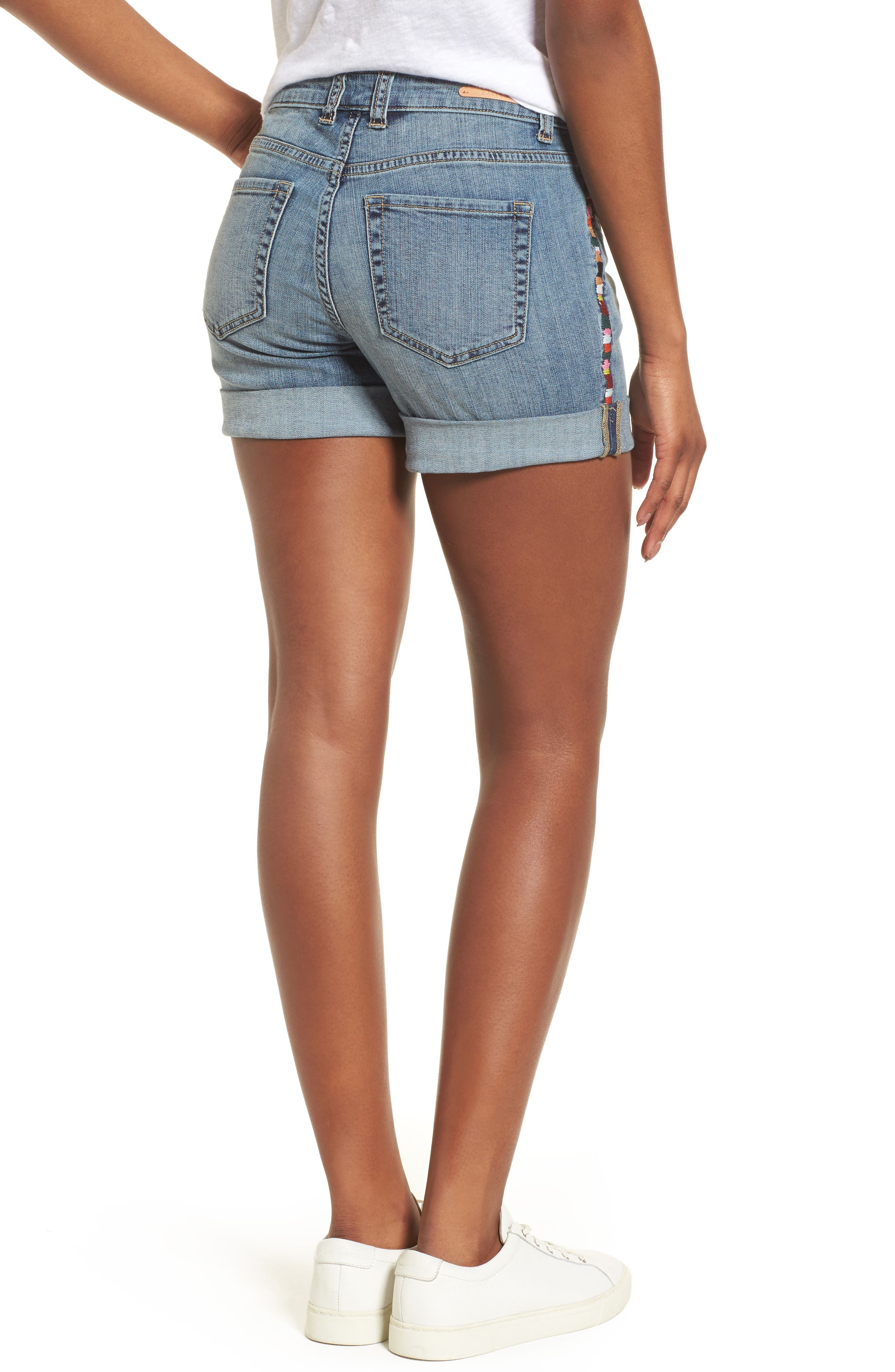 CASLON<SUP>®</SUP>,                             Embroidered Seam Boyfriend Denim Shorts,                             Alternate thumbnail 2, color,                             420
