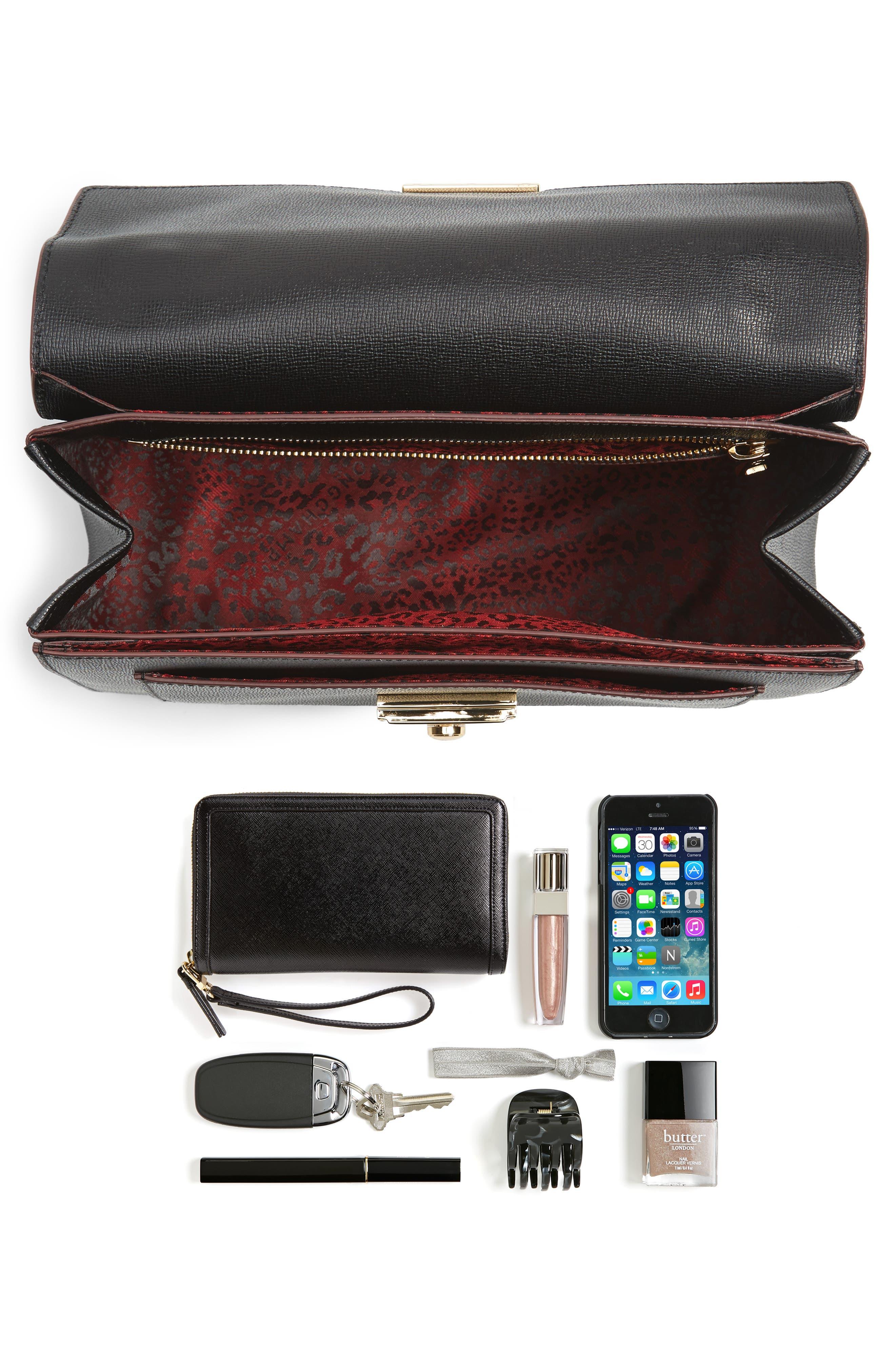 Pliage Heritage Leather Shoulder Bag,                             Alternate thumbnail 3, color,                             BLACK
