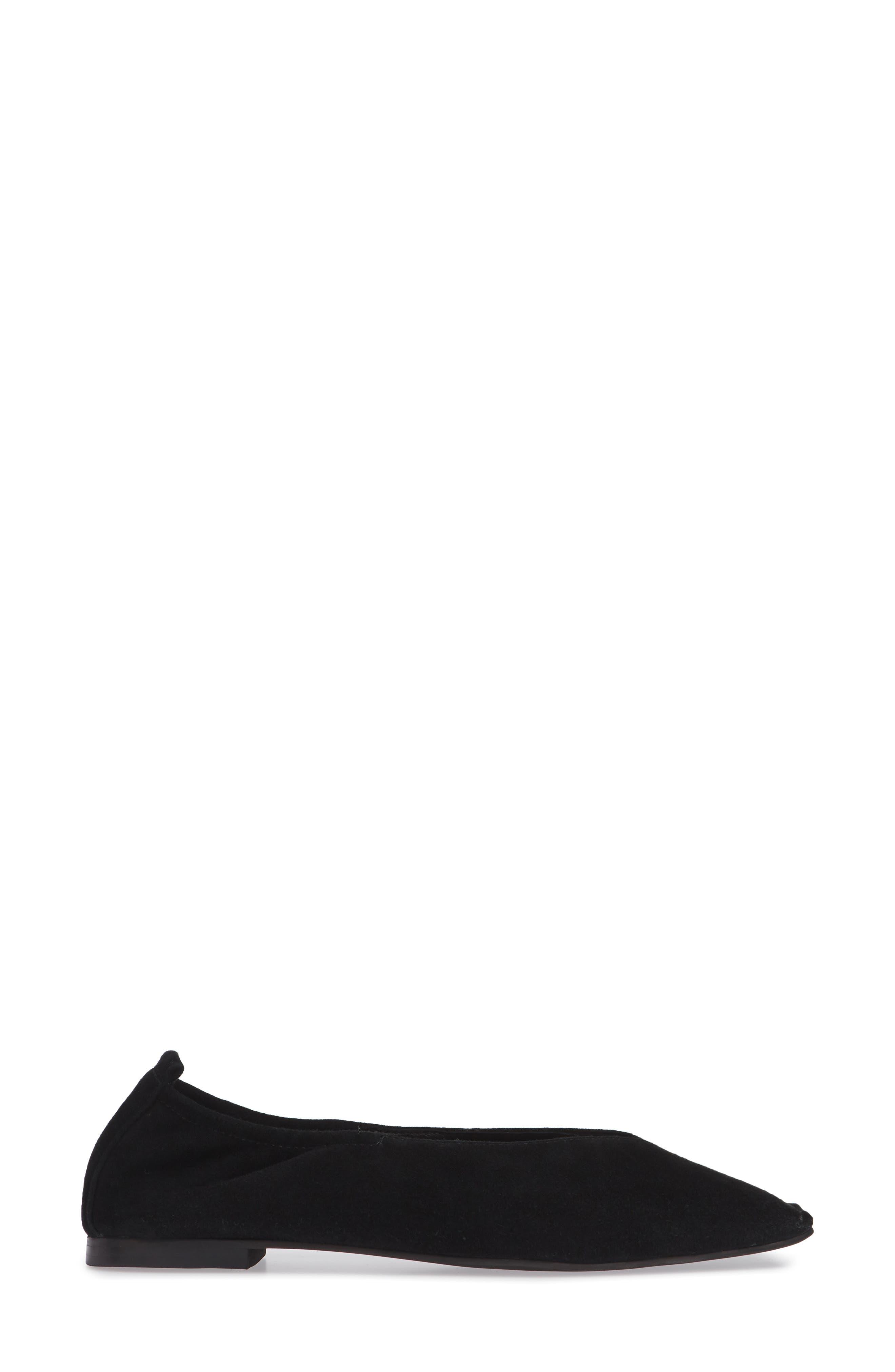 Samoa Blunted Toe Skimmer Flat,                             Alternate thumbnail 3, color,                             BLACK SUEDE